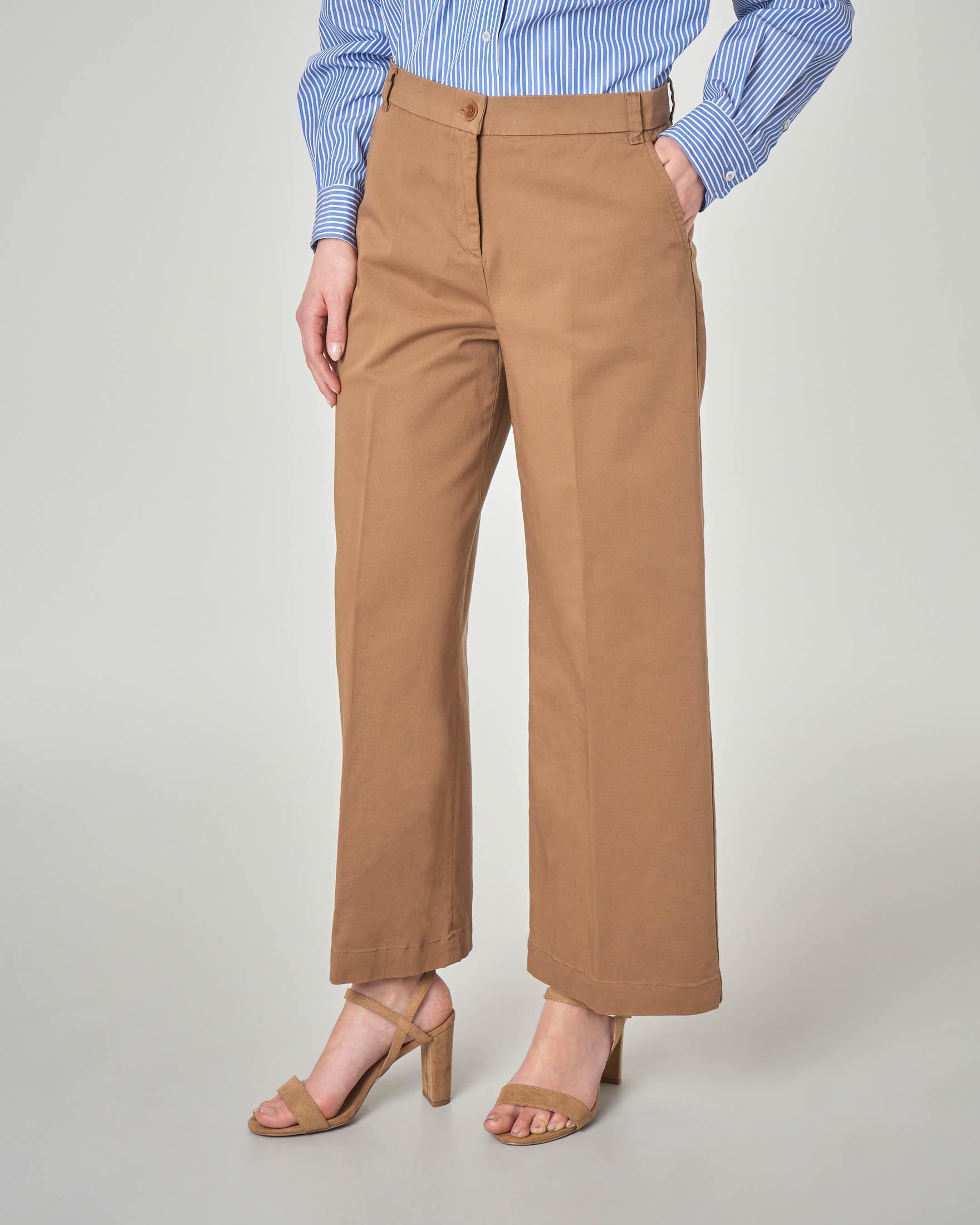 Pantaloni palazzo in cotone stretch color cuoio