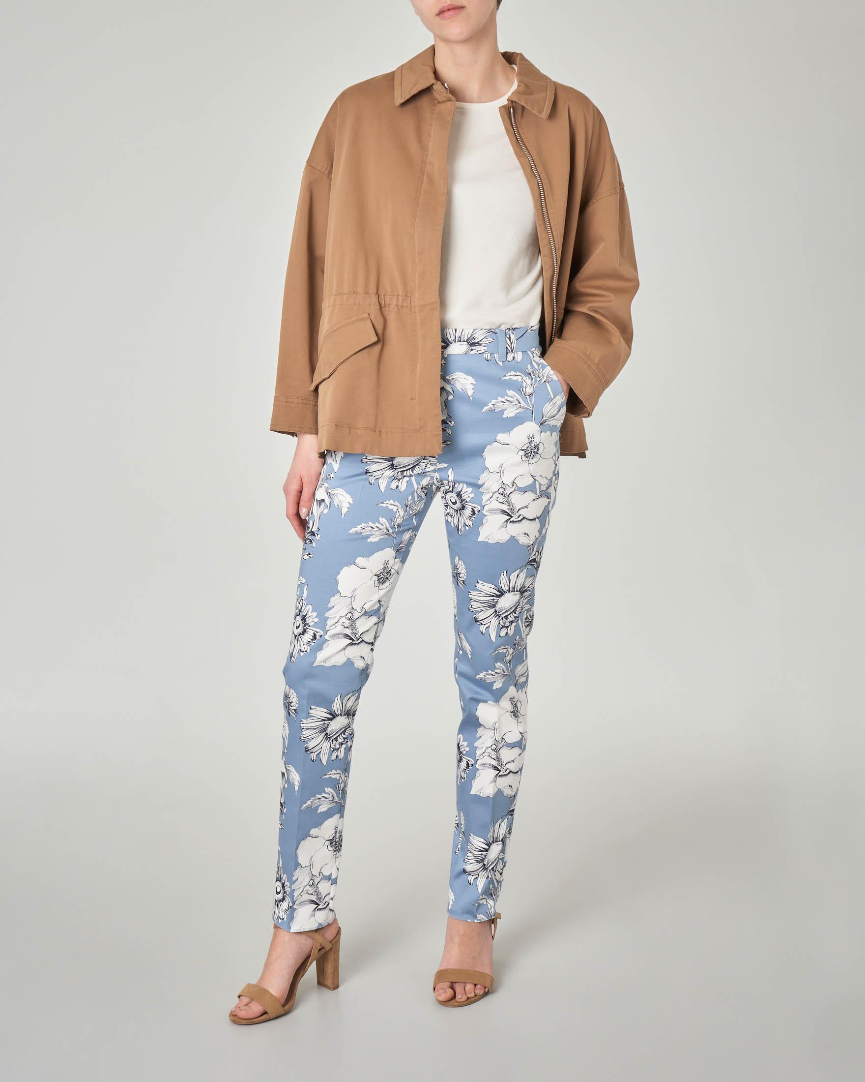 Giacca in cotone stretch color cuoio con colletto a camicia