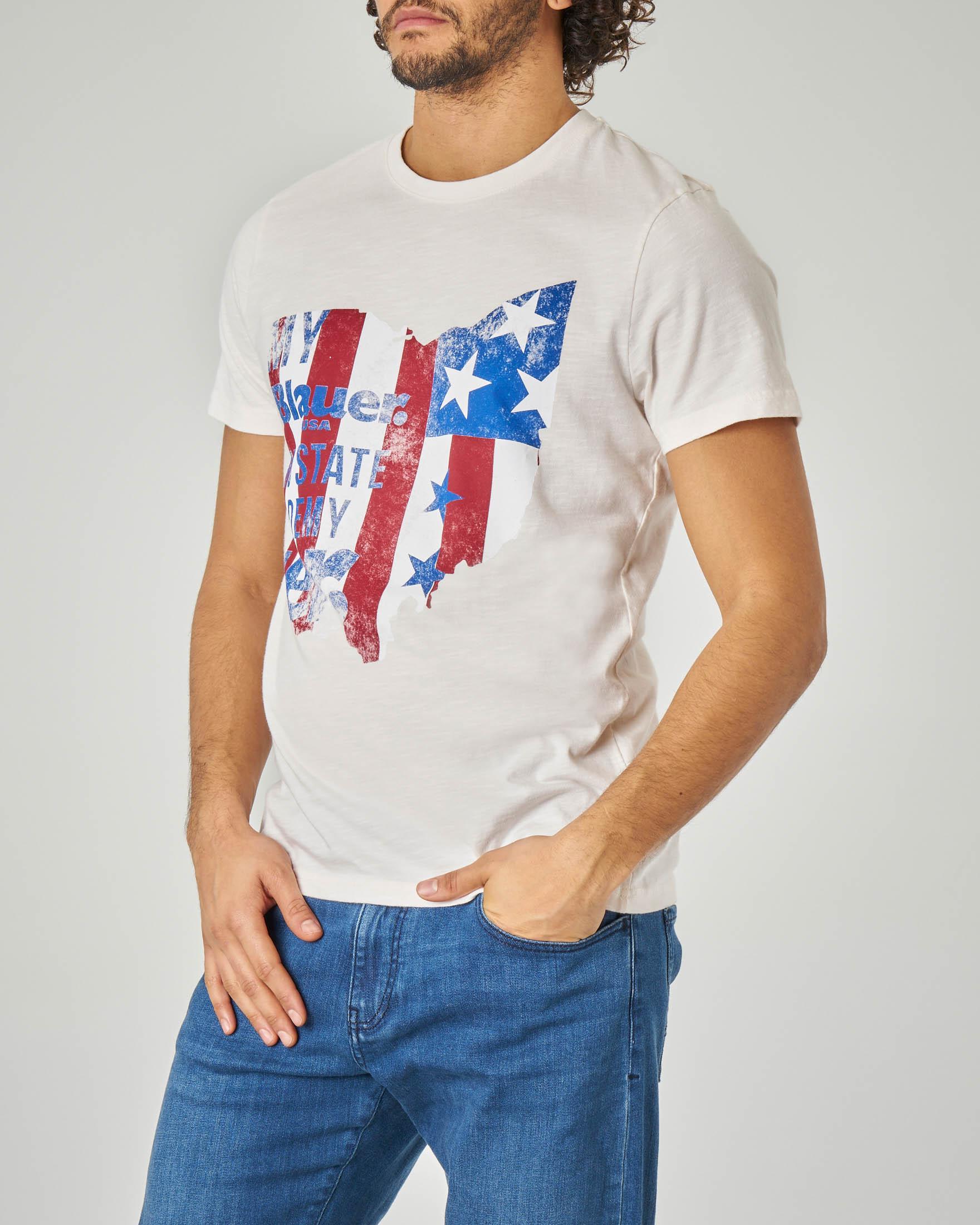 T-shirt bianca con stampa USA