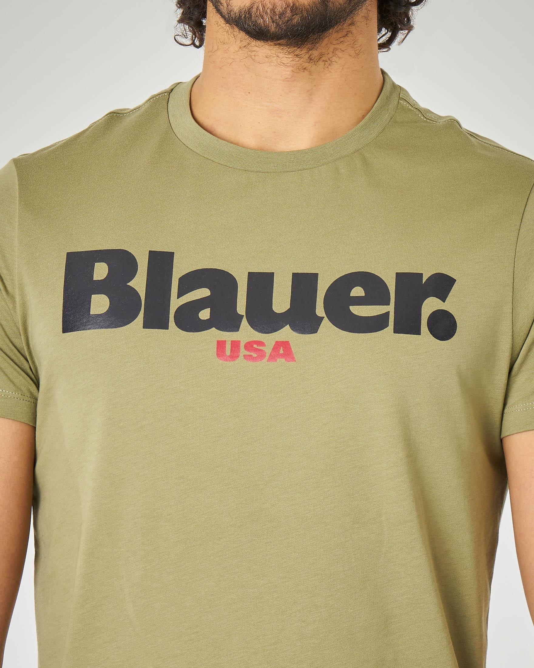 T-shirt verde militare con logo