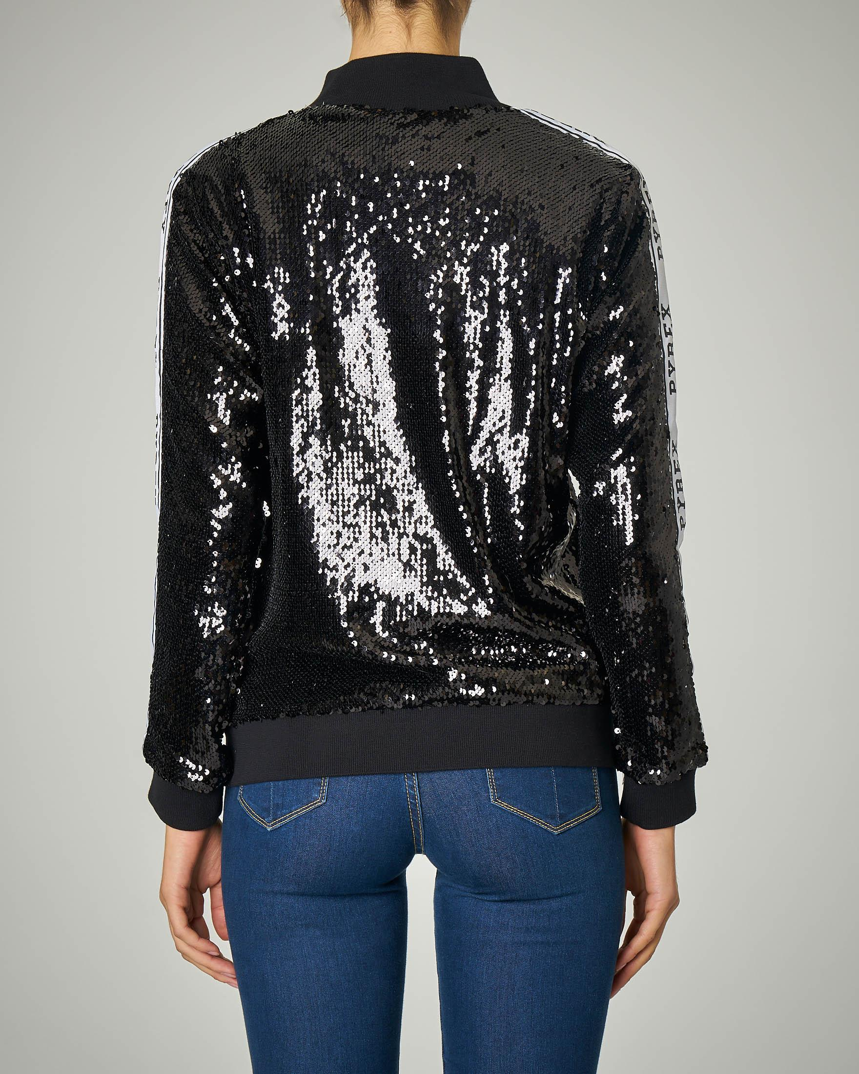 Felpa nera in paillettes con zip