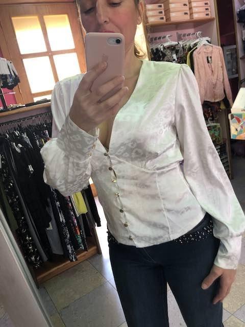 Camicia in raso maculato con bottoni