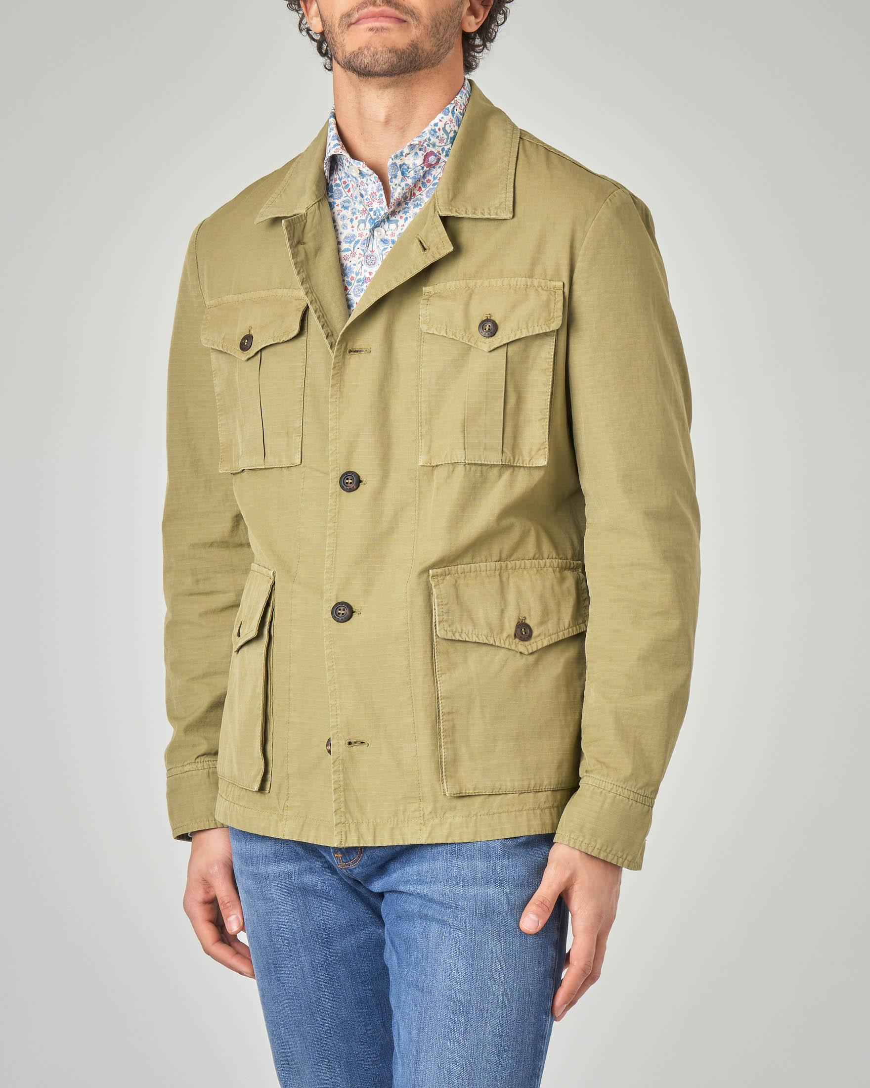 Field jacket verde in ripstop