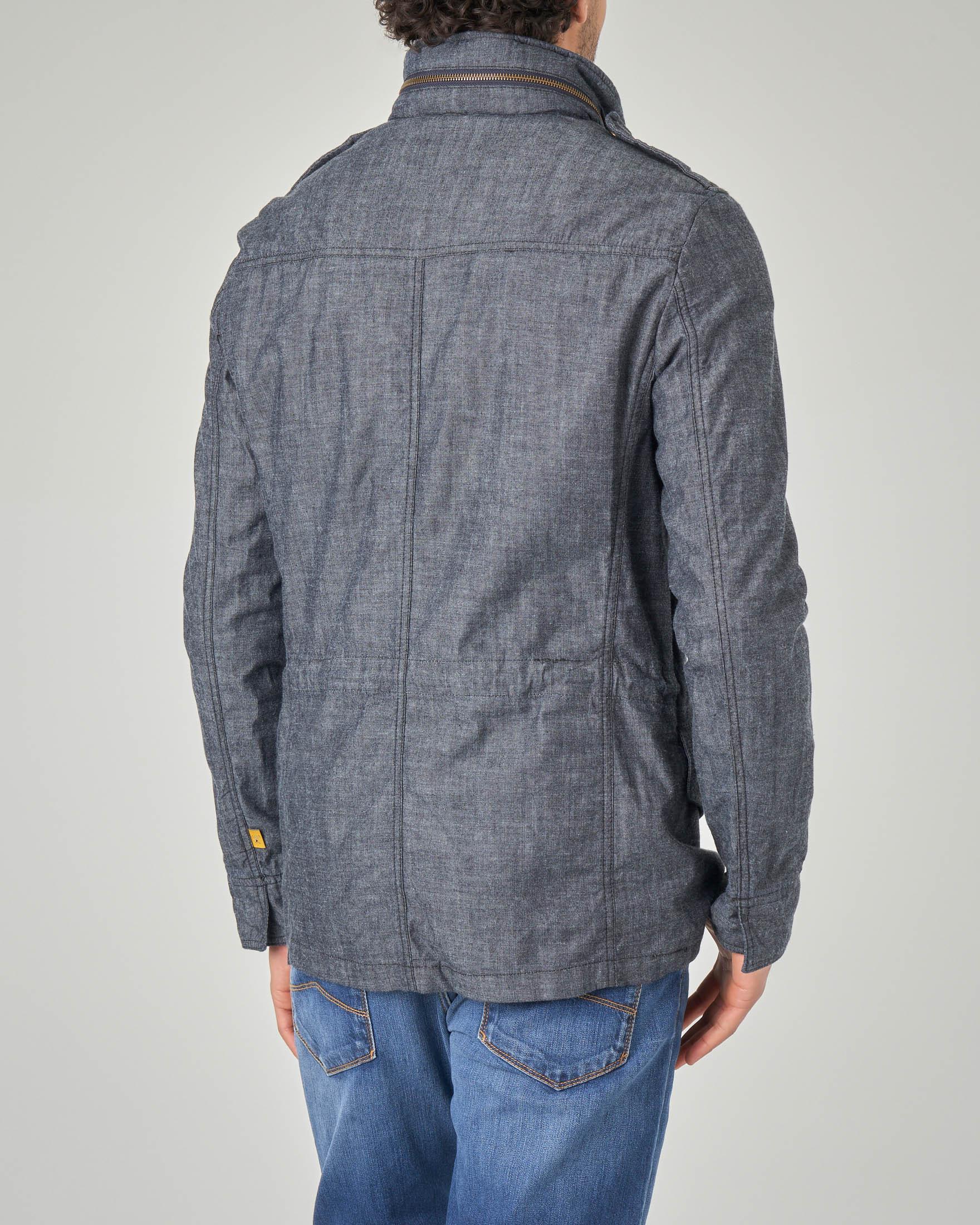 Giacca blu in tessuto chambray fiammato