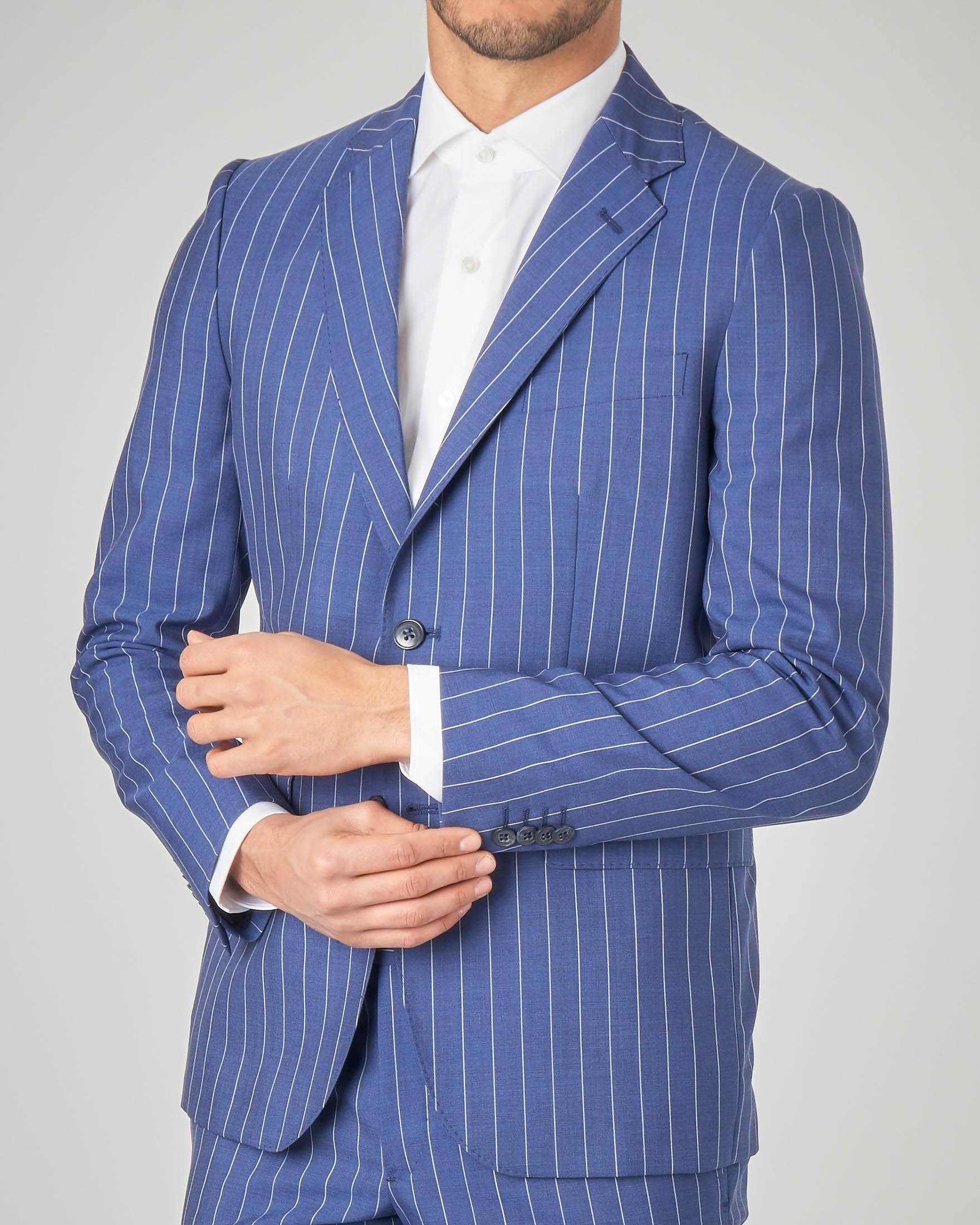 Abito blu royal gessato in tela di lana