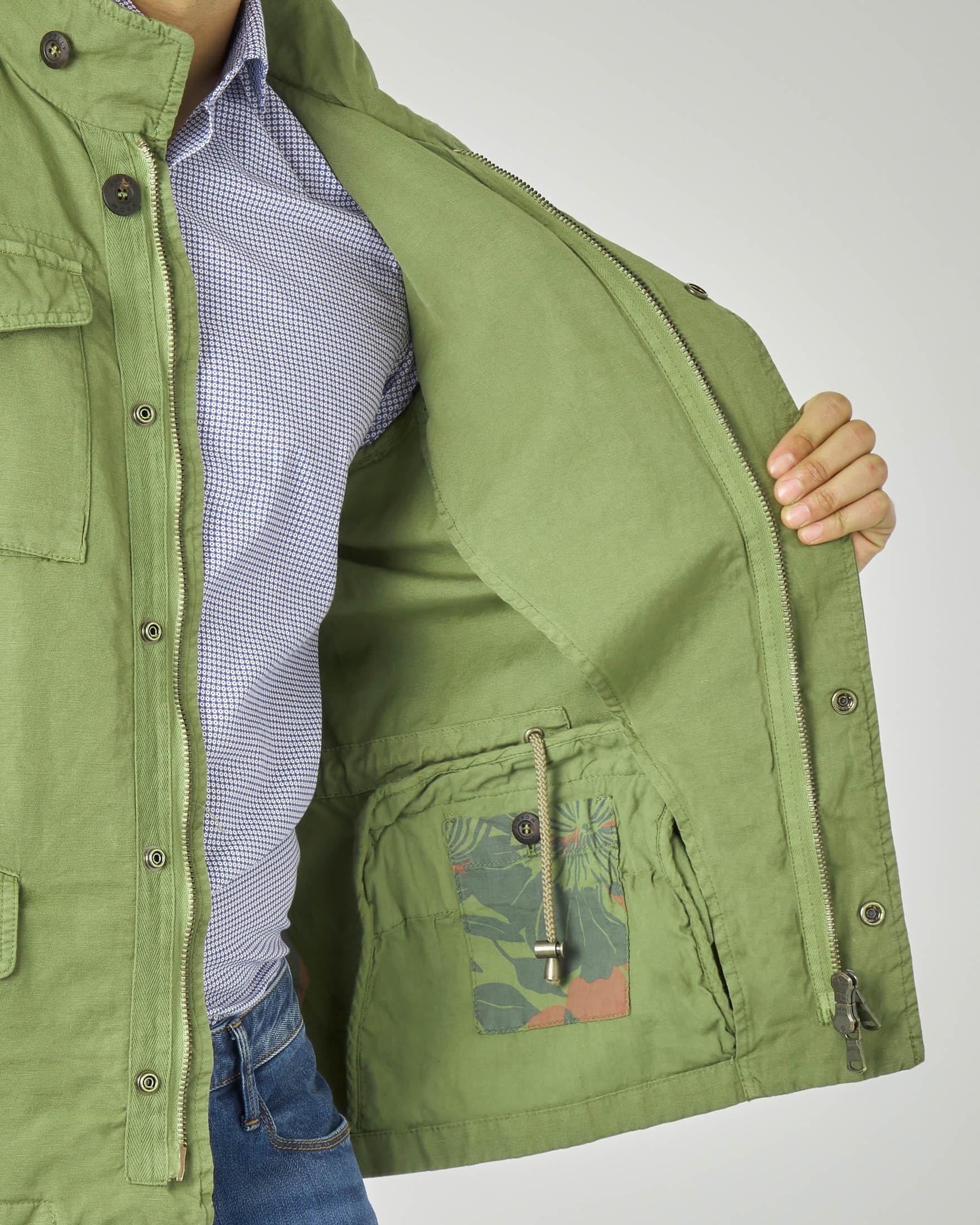 Field jacket verde militare in cotone e lino