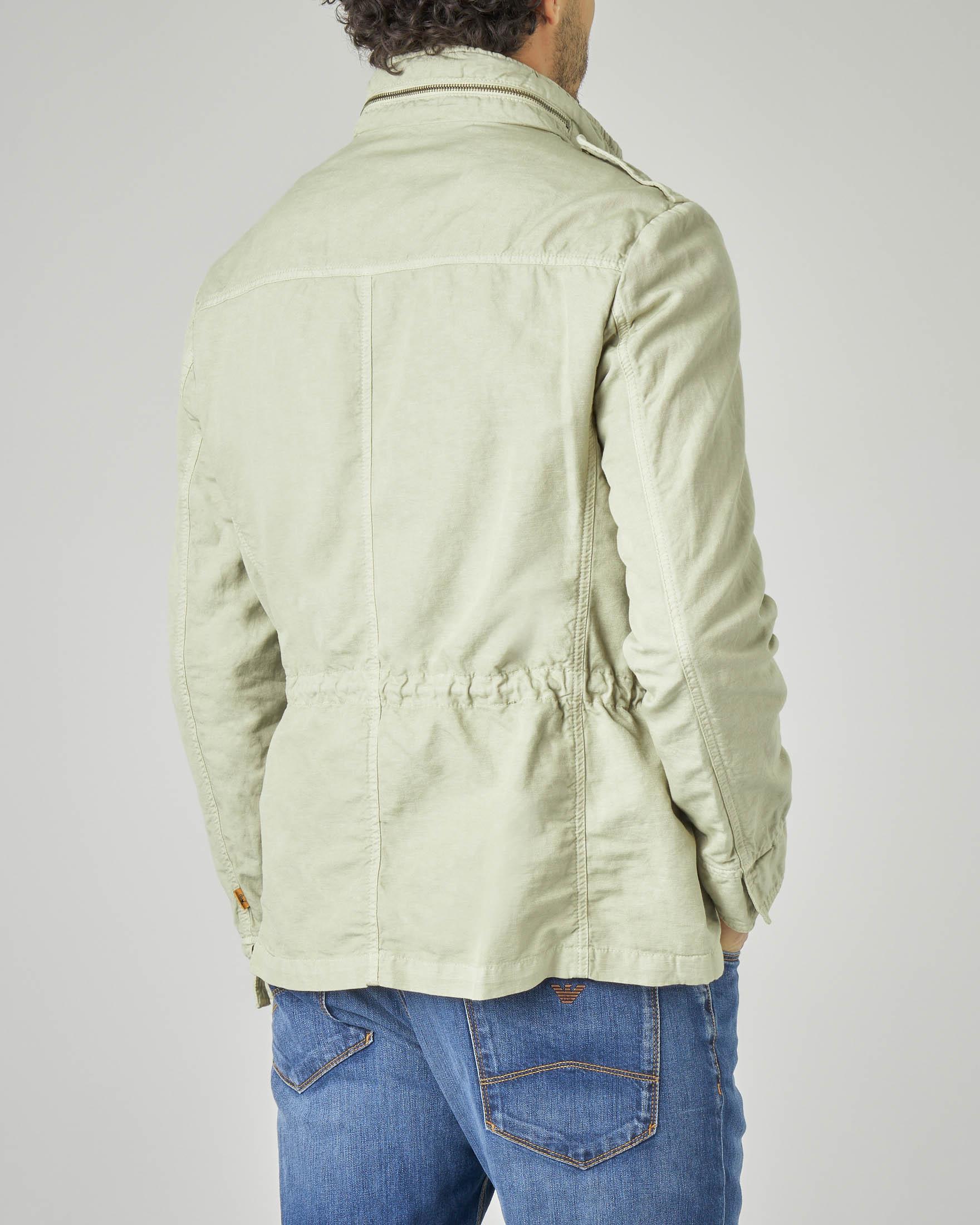 Field jacket verde chiaro in cotone e lino