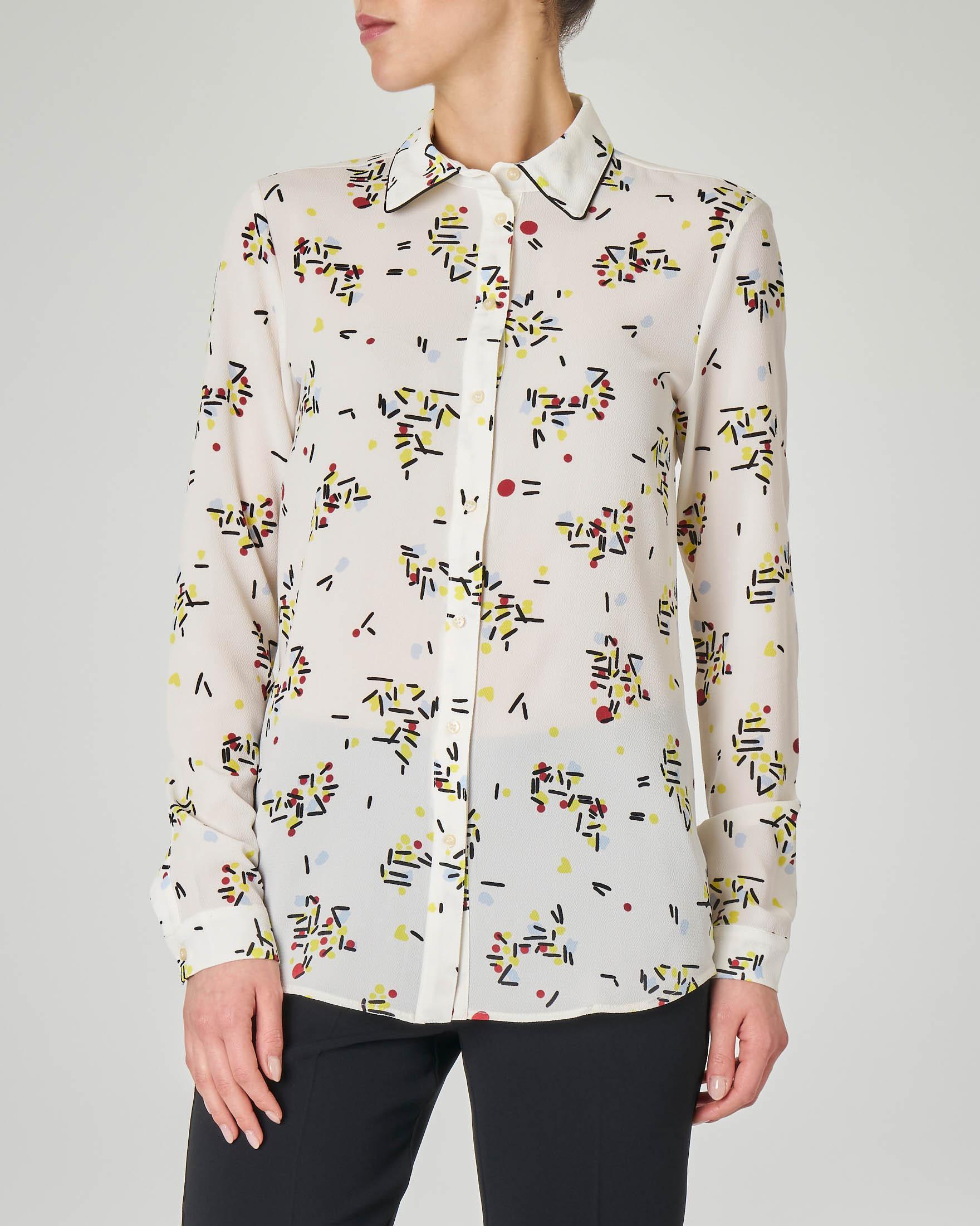 Camicia bianca in georgette a fantasia con profili a contrasto