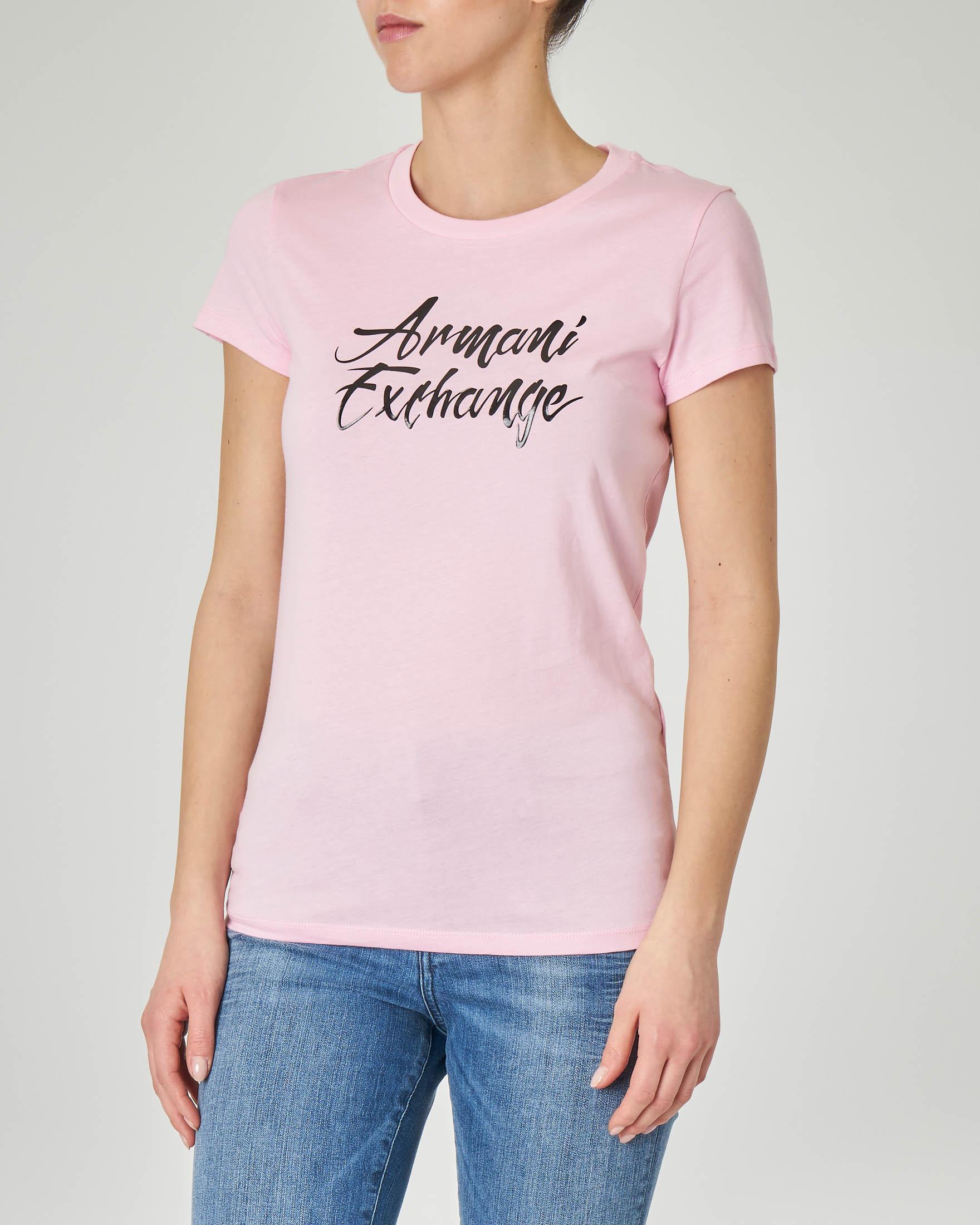 T-shirt rosa in cotone con scritta logo in nero effetto semi-lucido
