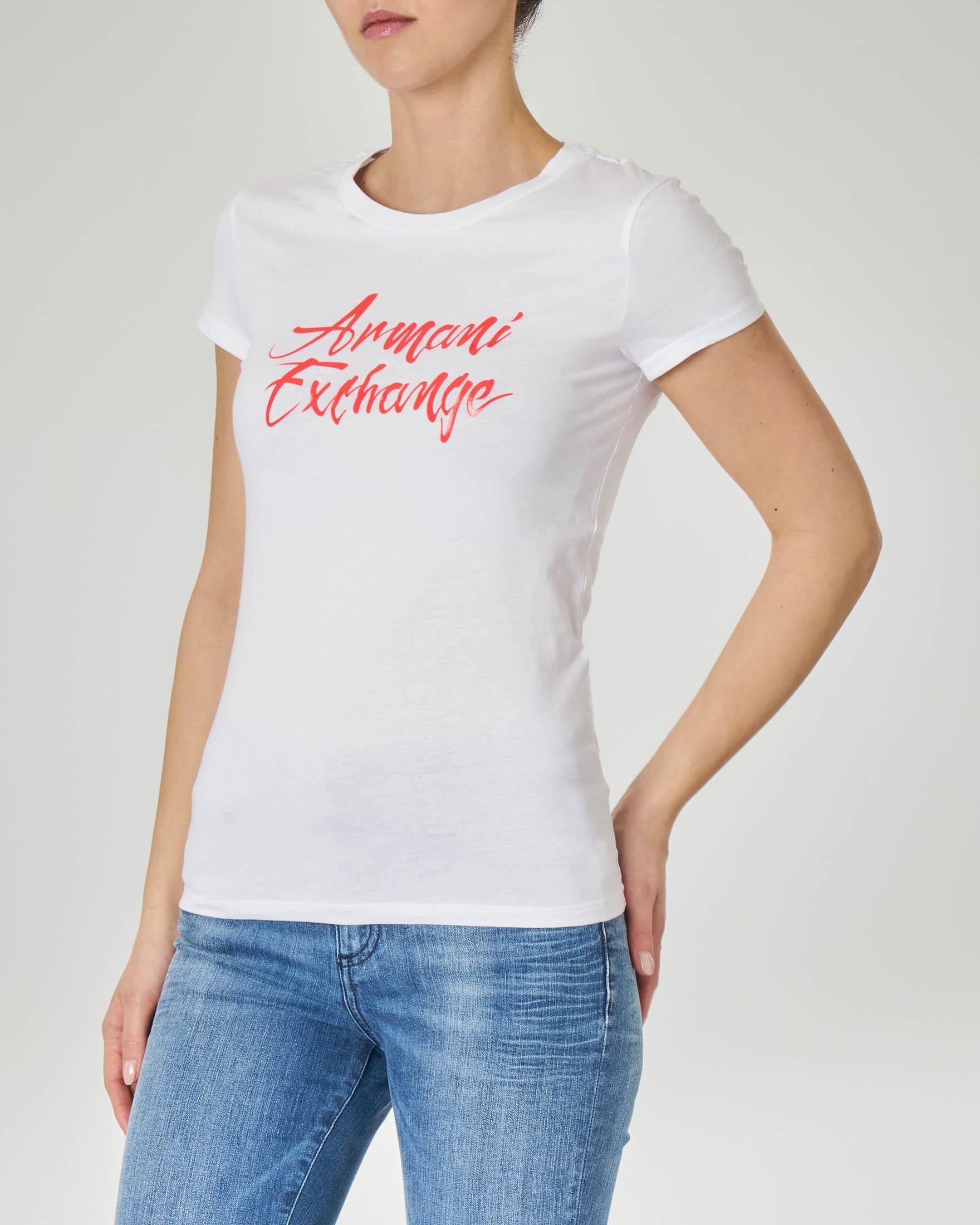 T-shirt bianca in cotone con scritta logo corallo effetto semi-lucido