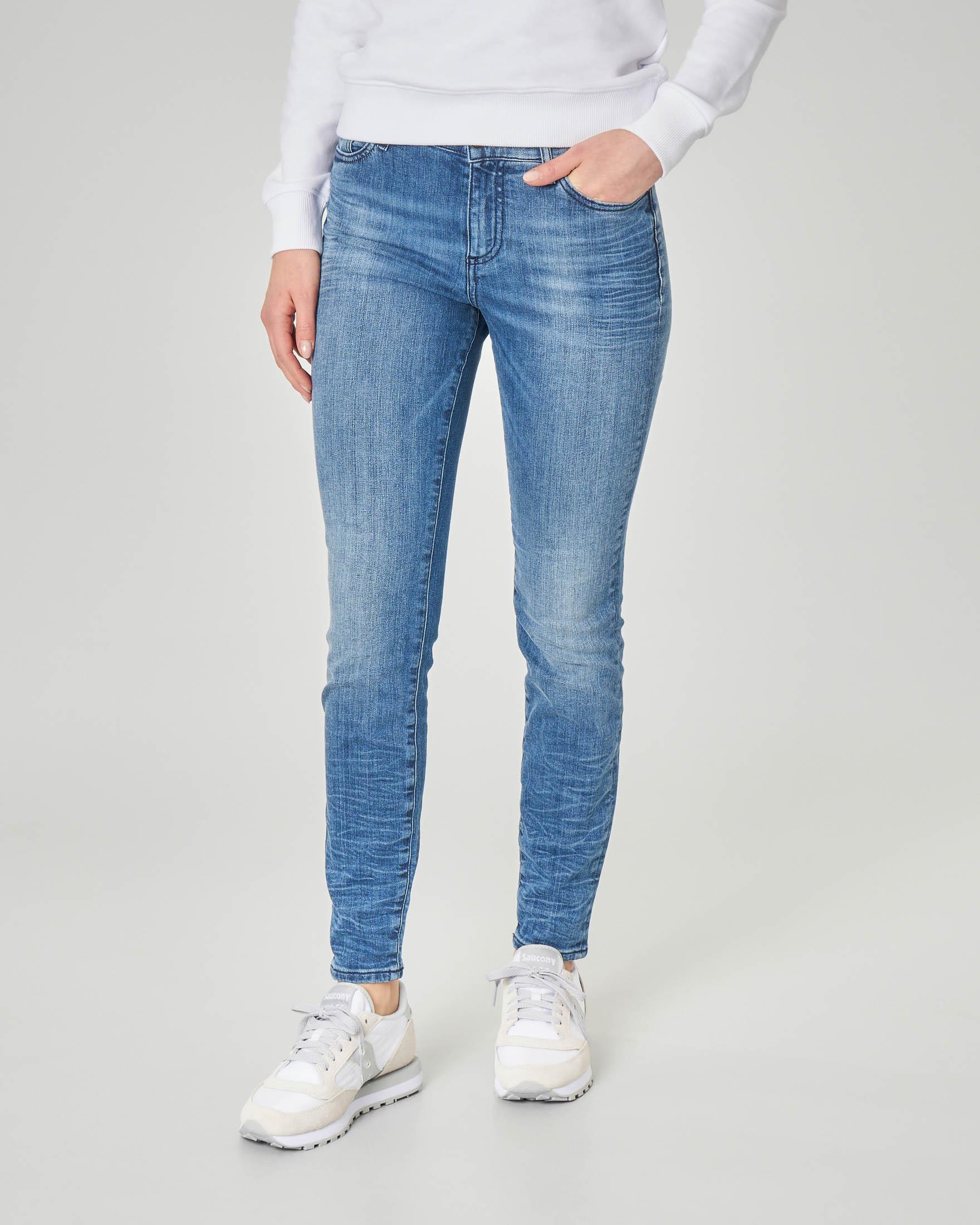 Jeans skinny blu in tessuto effetto stropicciato