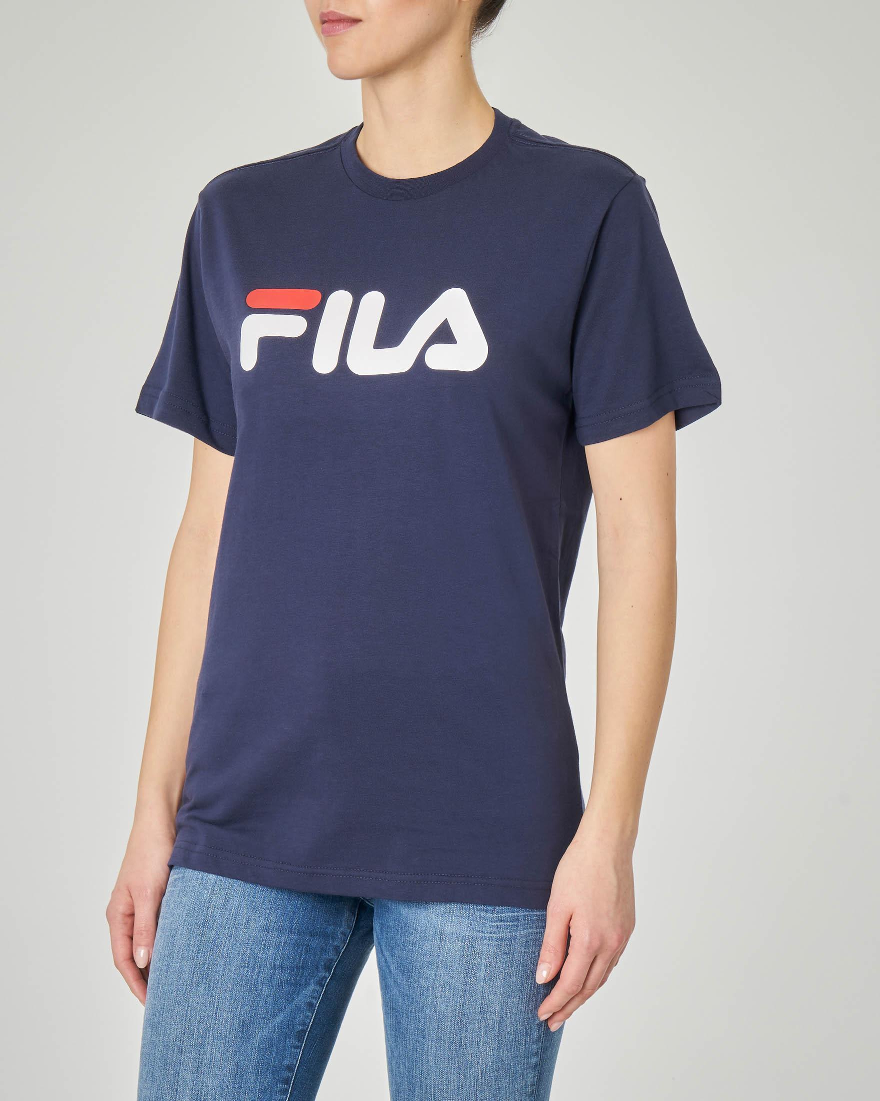 T-shirt blu girocollo con logo stampato
