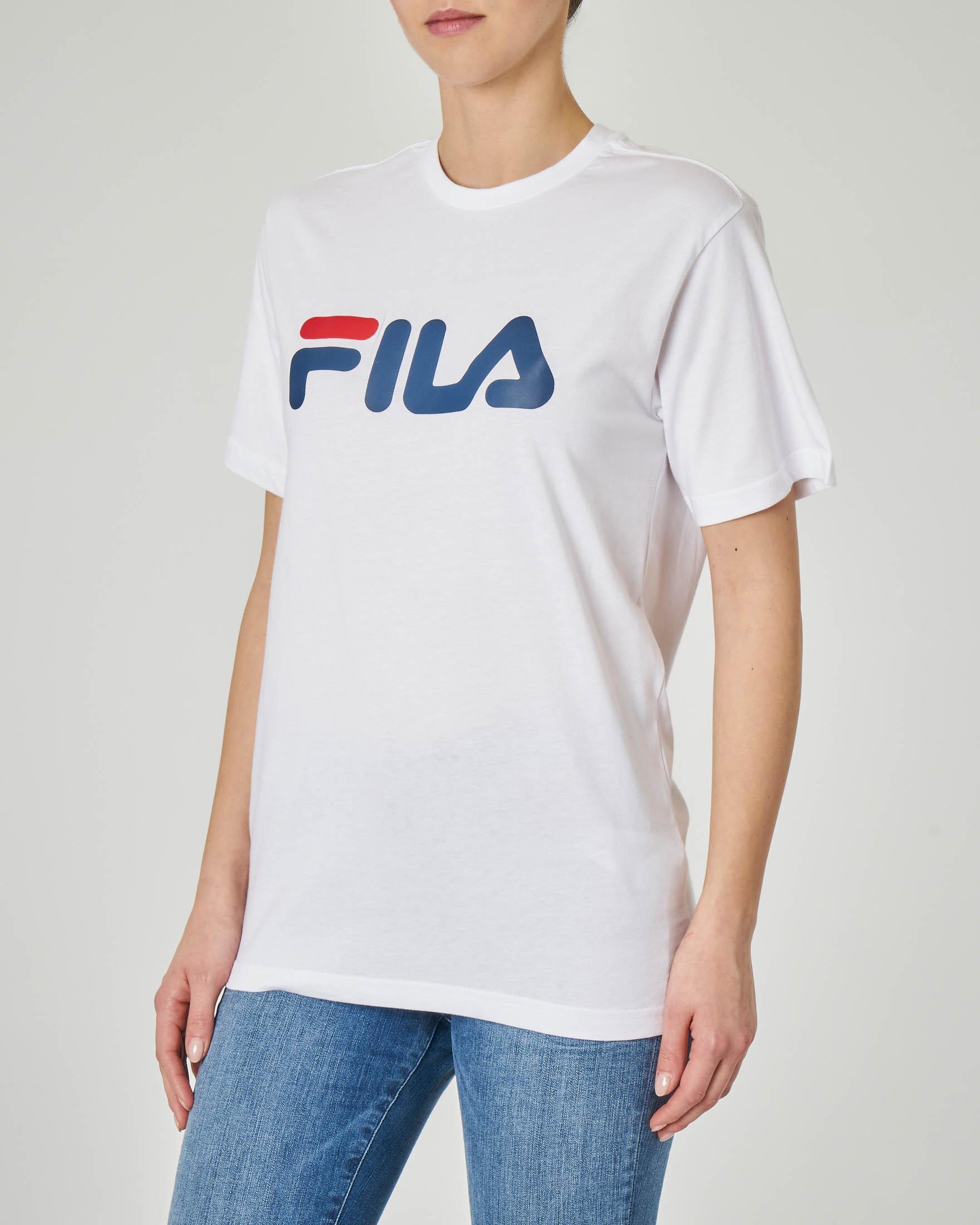 T-shirt bianca girocollo con logo stampato