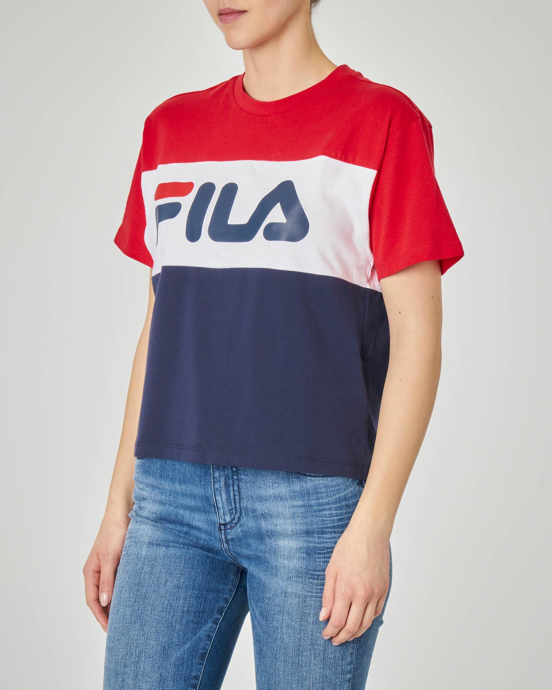 T-shirt in cotone a blocchi di colore con logo