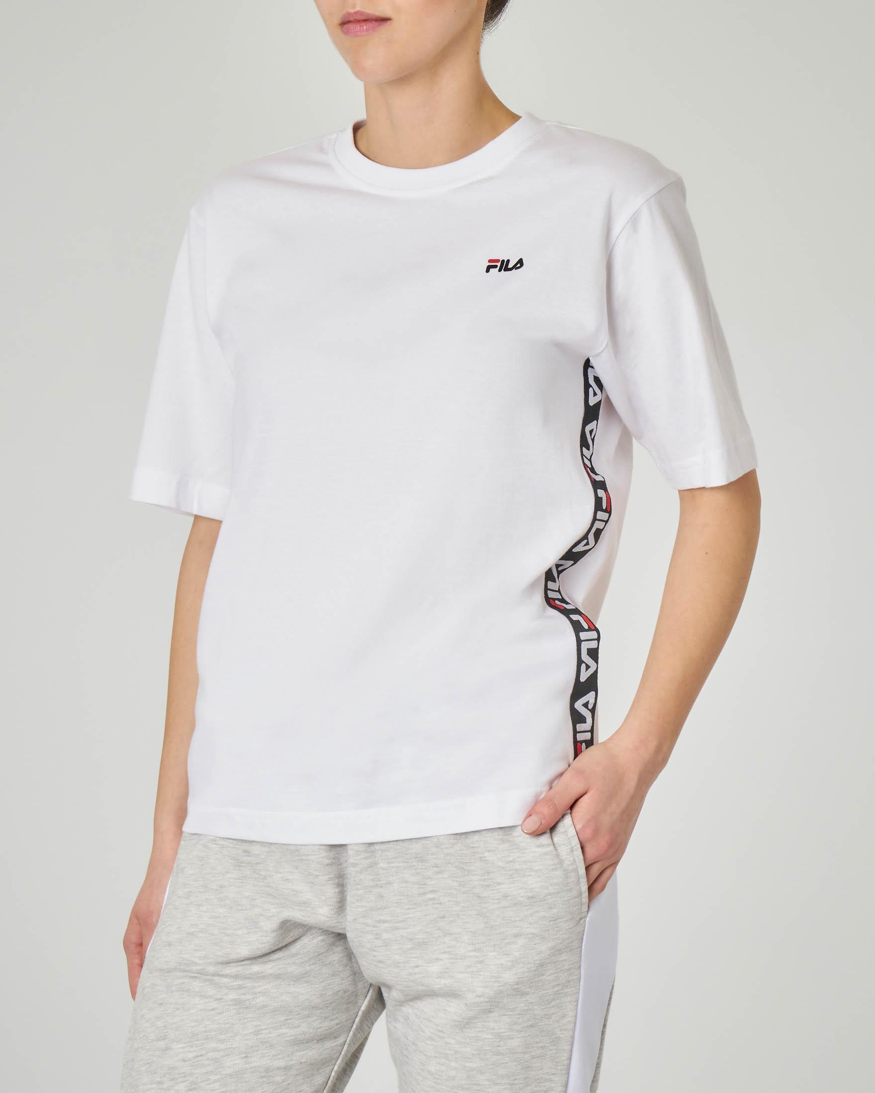 T-shirt bianca cin cotone con banda logo laterale