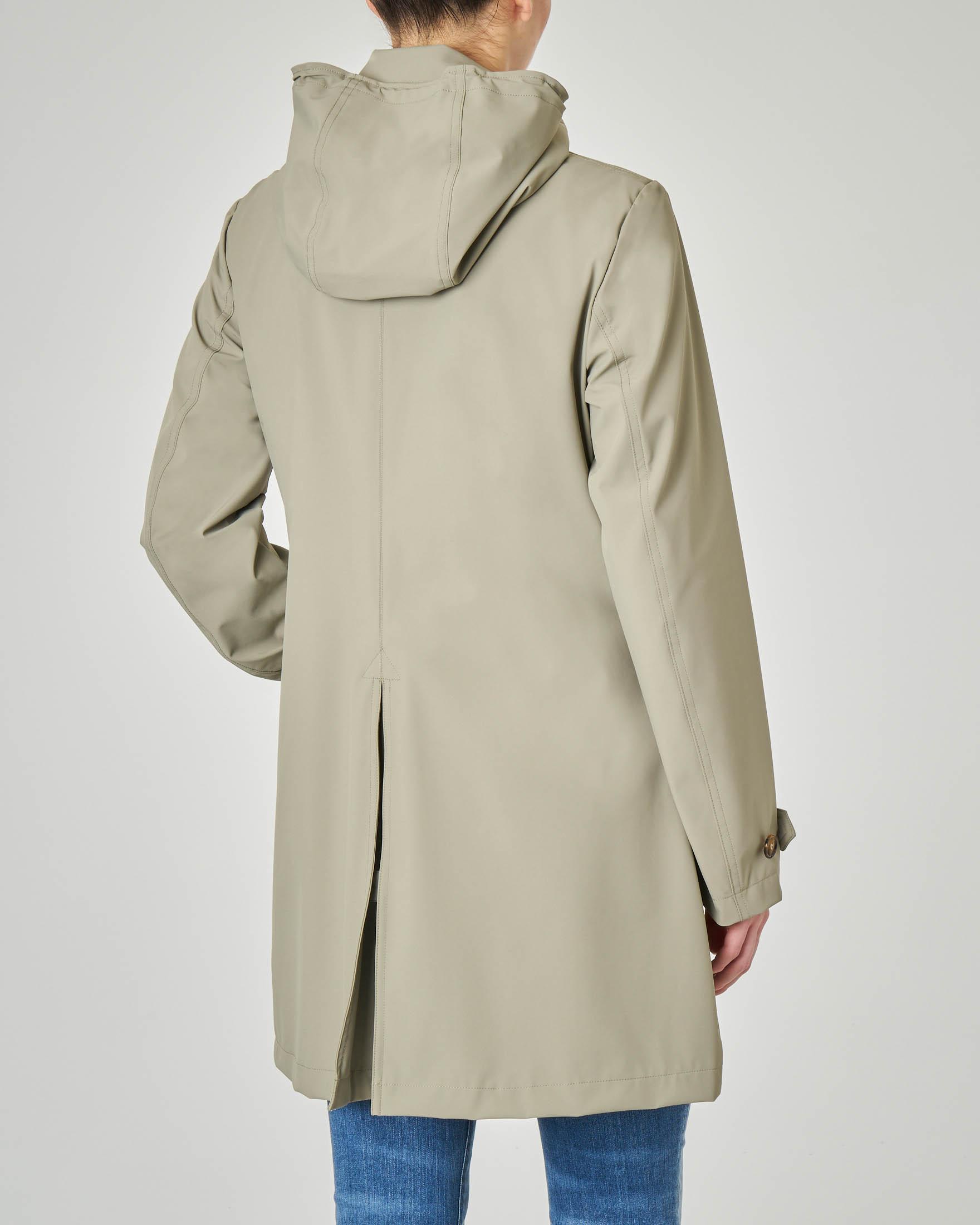 Trench color salvia con cappuccio staccabile con colletto a camicia