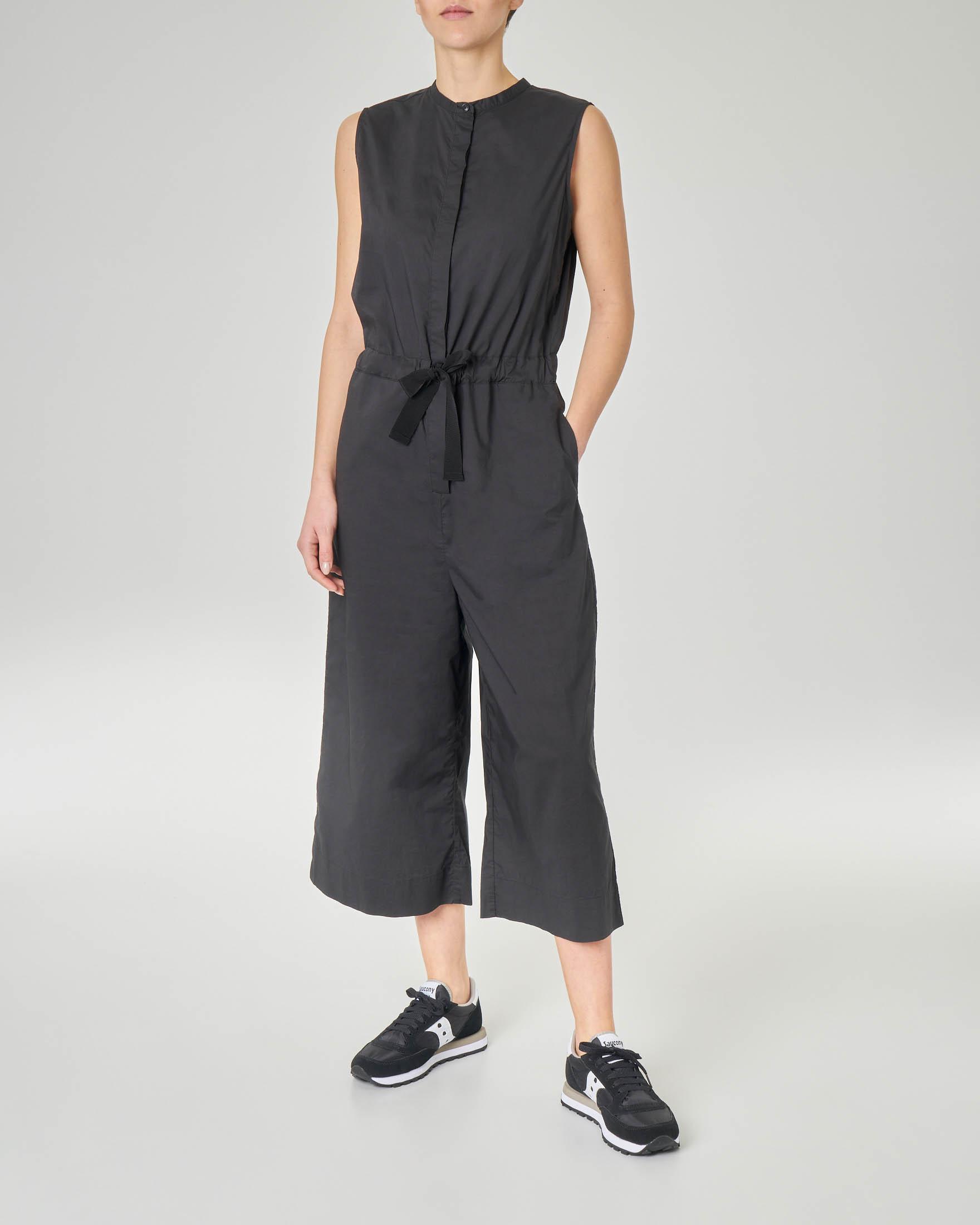 Tuta pantalone in cotone nera con coulisse in vita