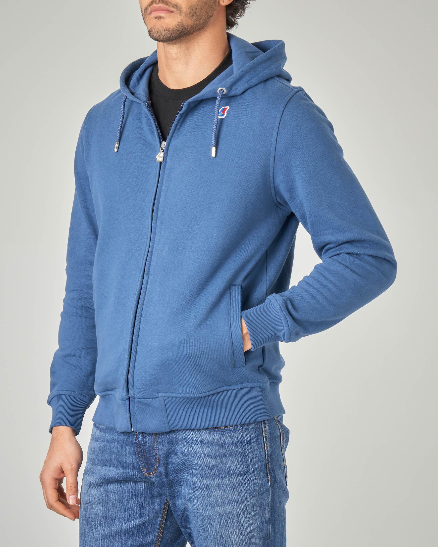 Felpa blu indaco con zip e cappuccio
