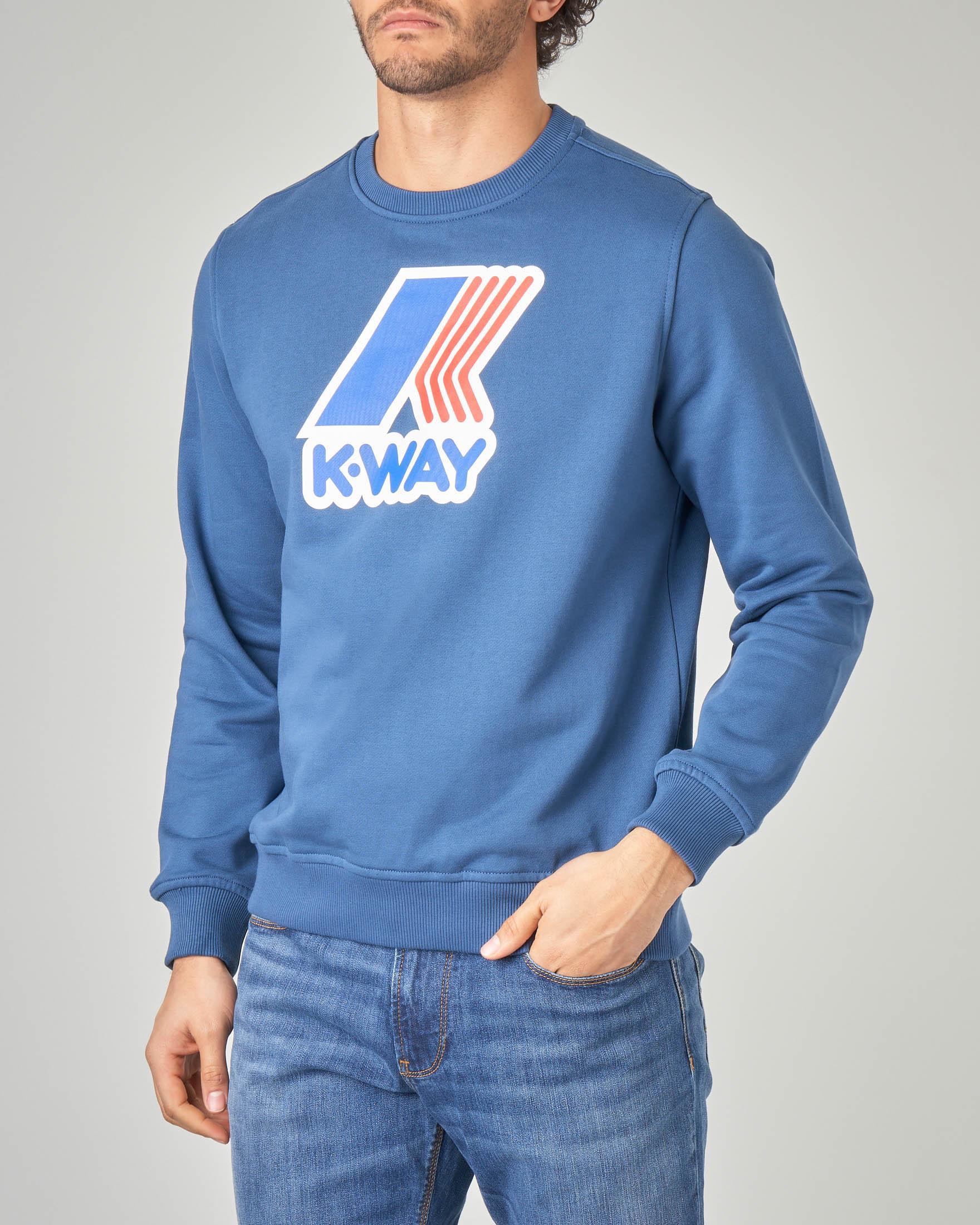 Felpa blu indaco girocollo con logo