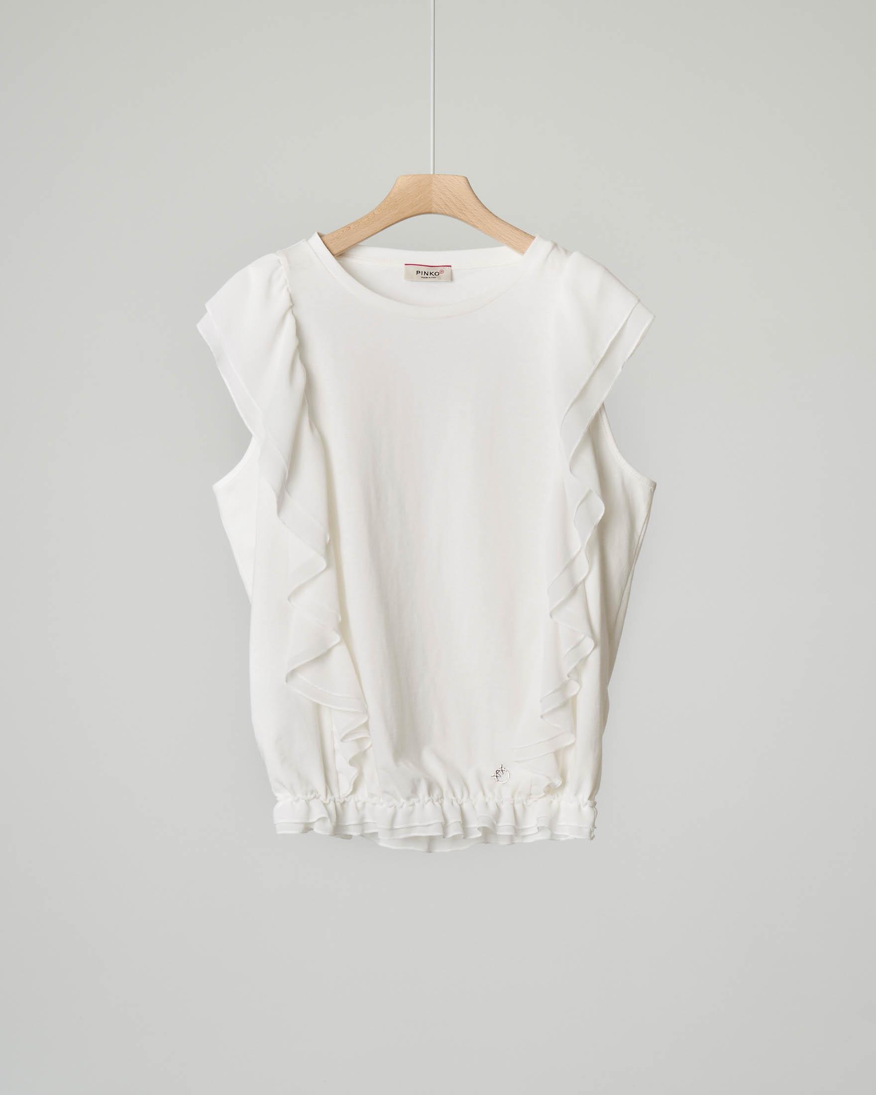 Blusa avorio con maxi rouches