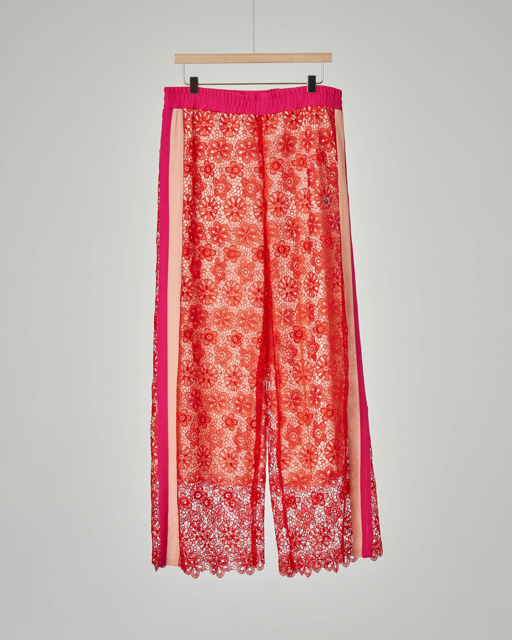 Pantalone rosso pizzo