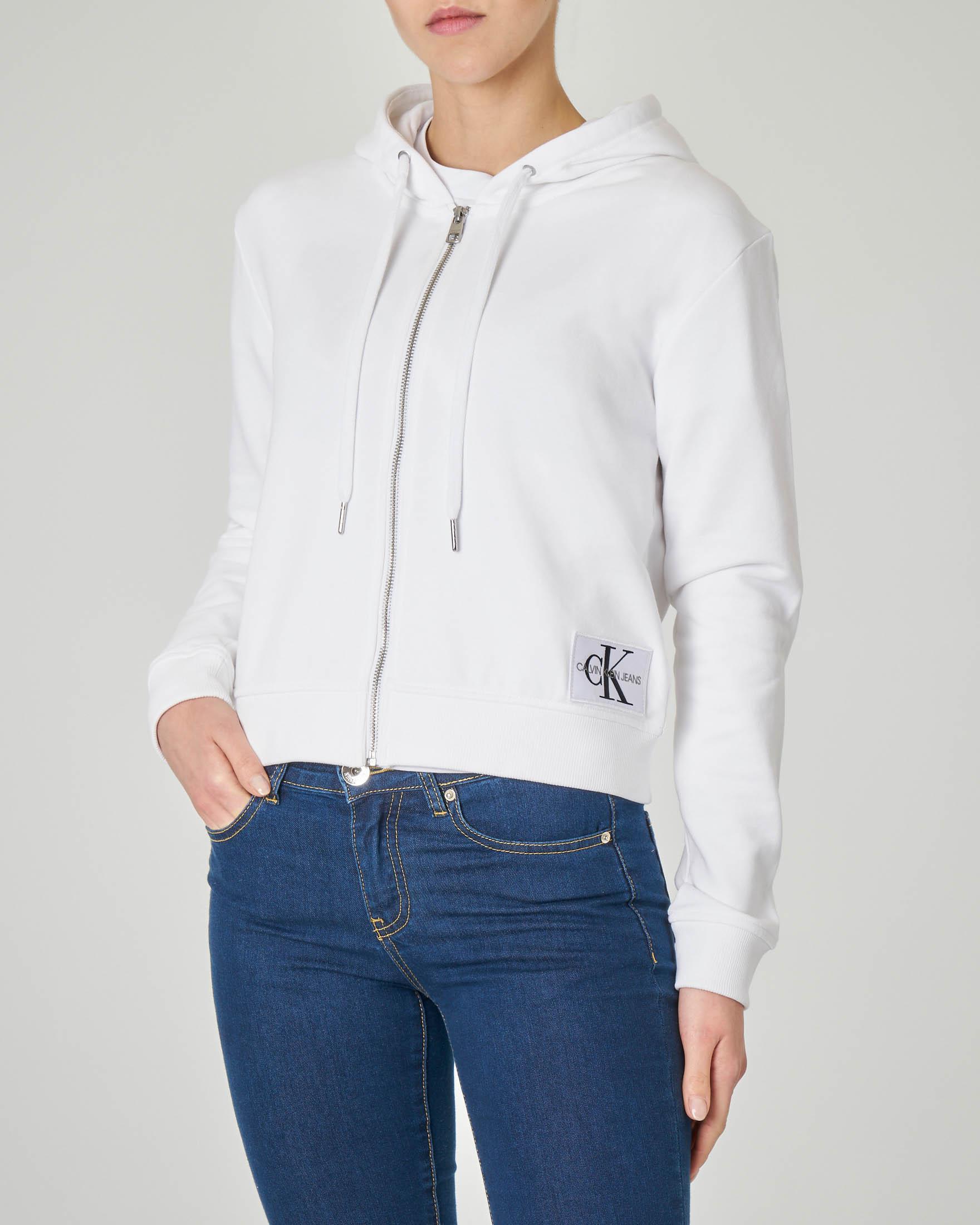 Felpa bianca in jersey di cotone con cappuccio e patch logo