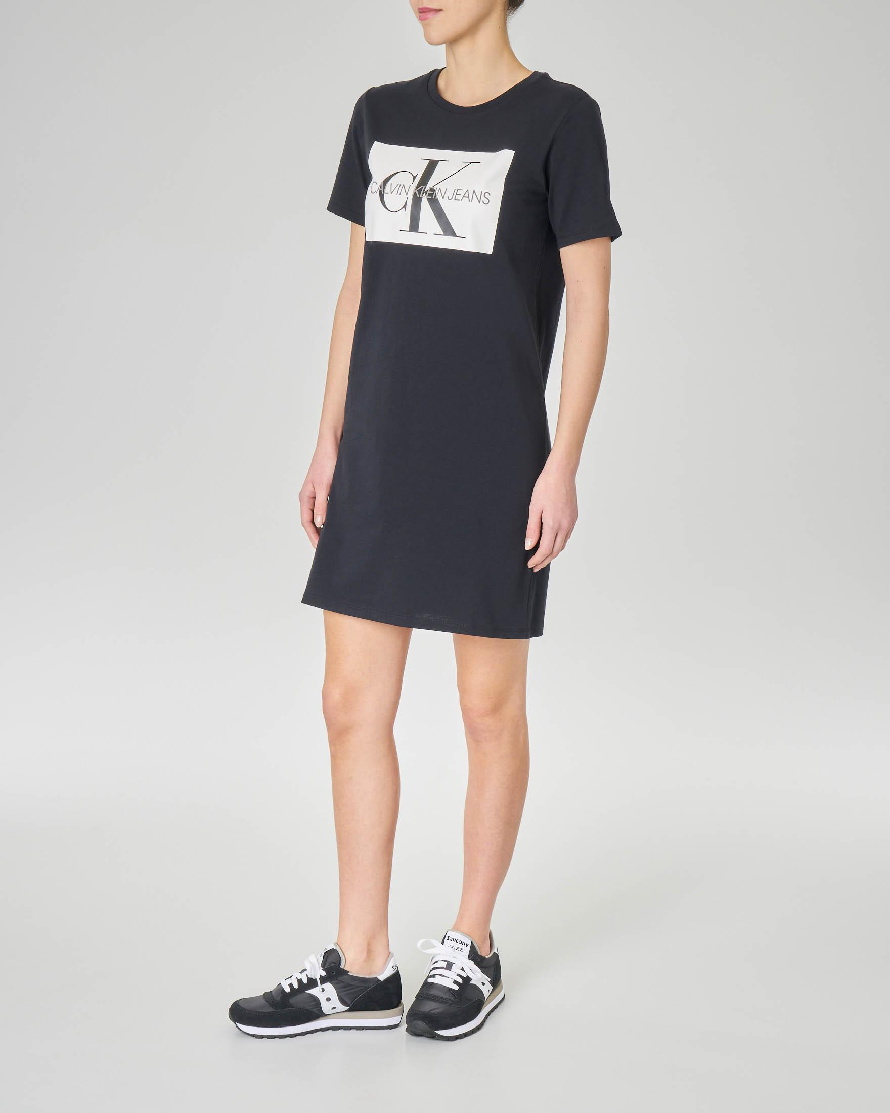 Abito corto nero in jersey di cotone con maxi logo stampato