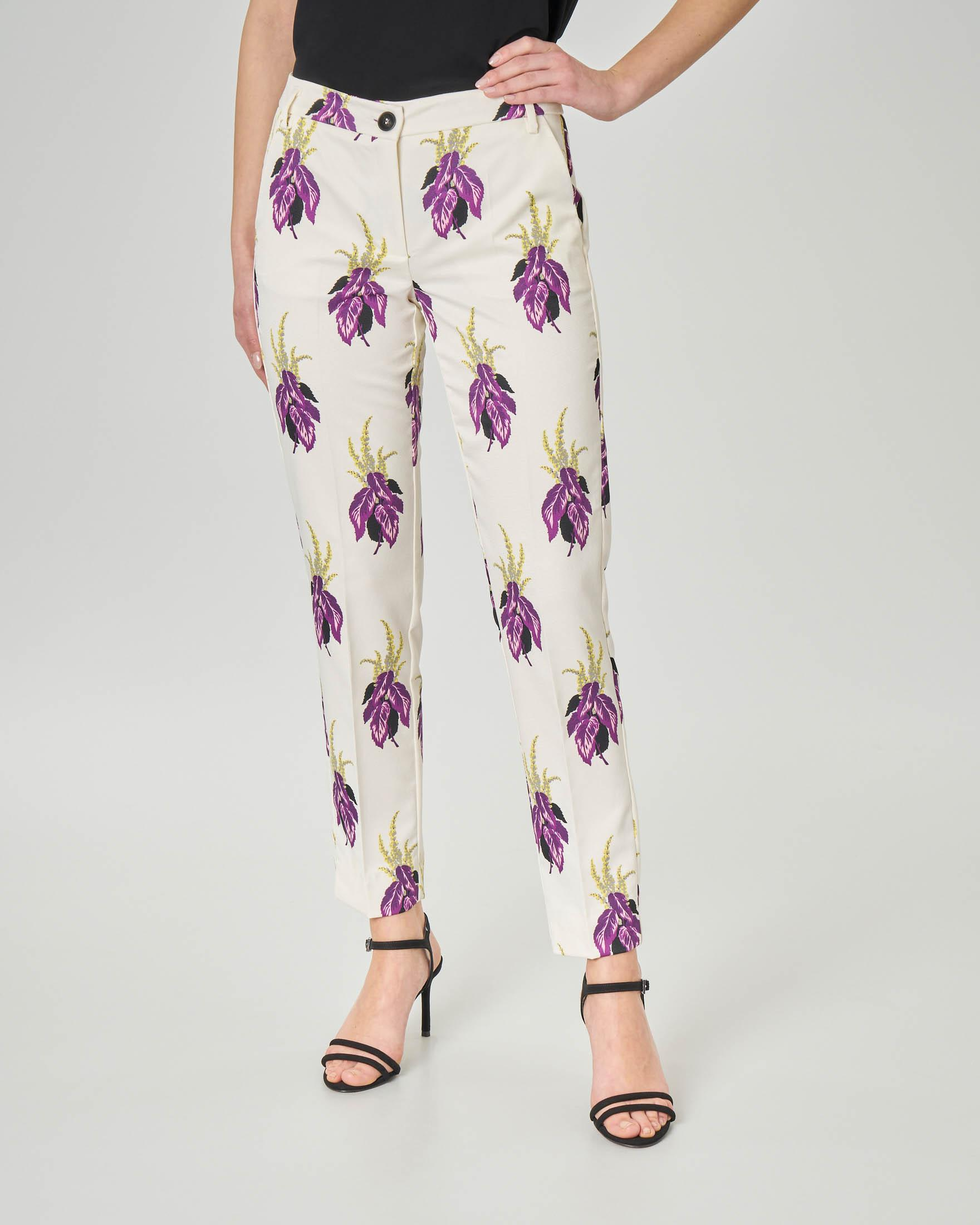 Pantaloni dritti alla caviglia color avorio a stampa floreale