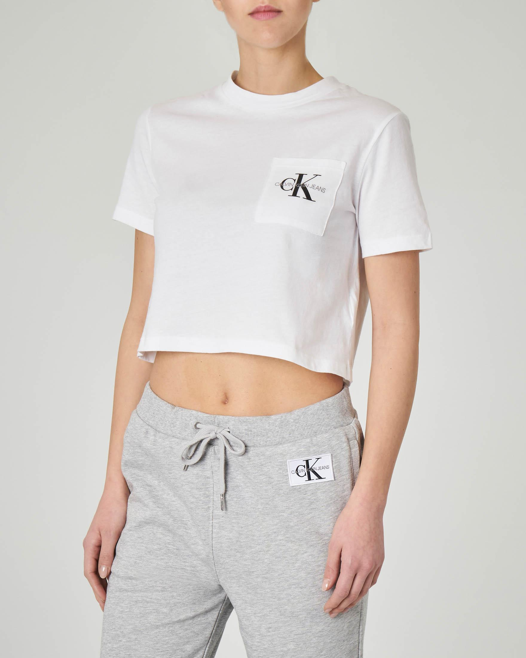 T-shirt bianca cropped in cotone con logo