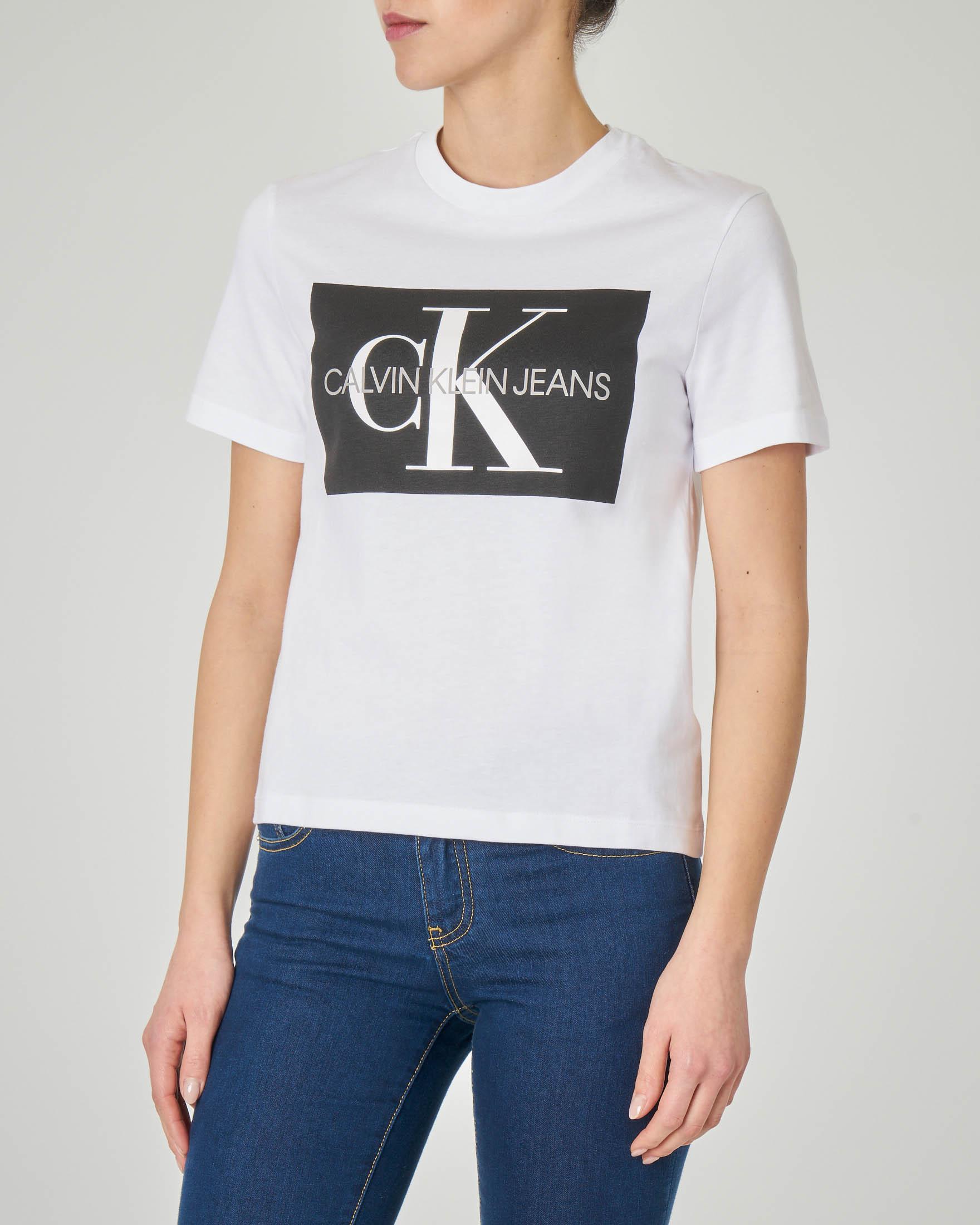 T-shirt bianca maniche corte con logo a contrasto