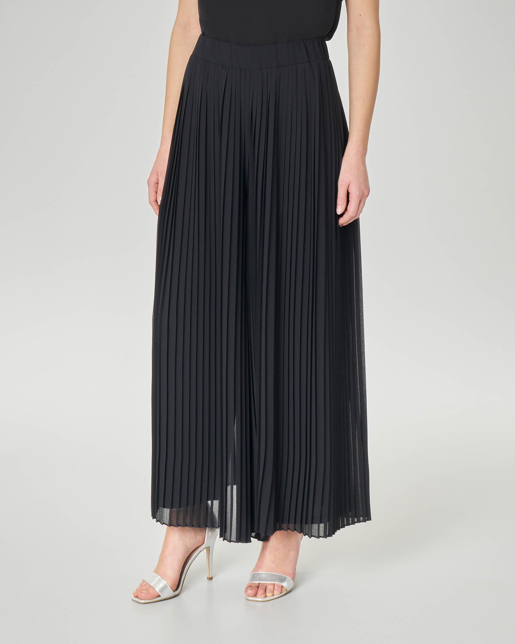 Pantaloni palazzo neri plissè
