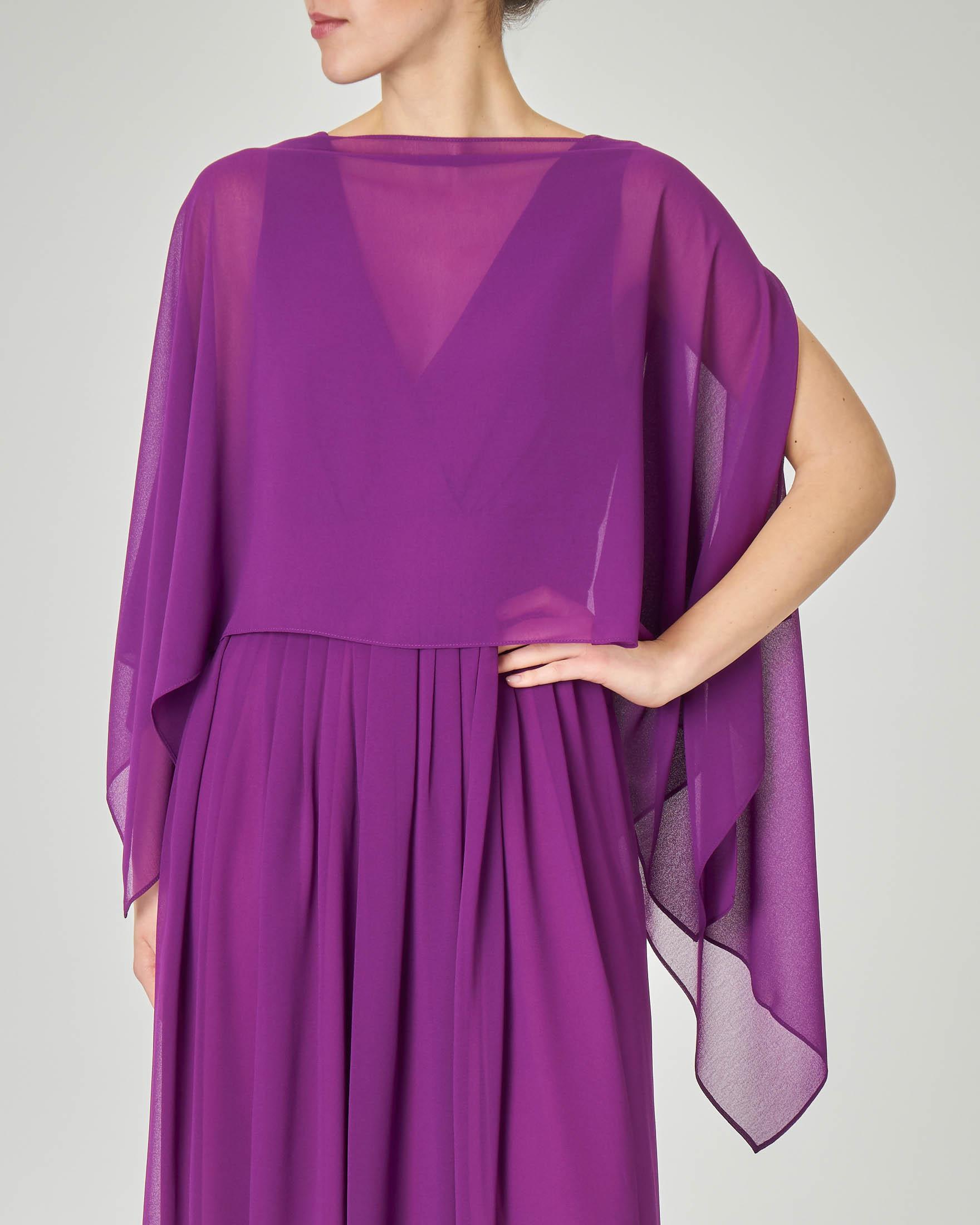 Stola colore viola in georgette con scollo a barchetta