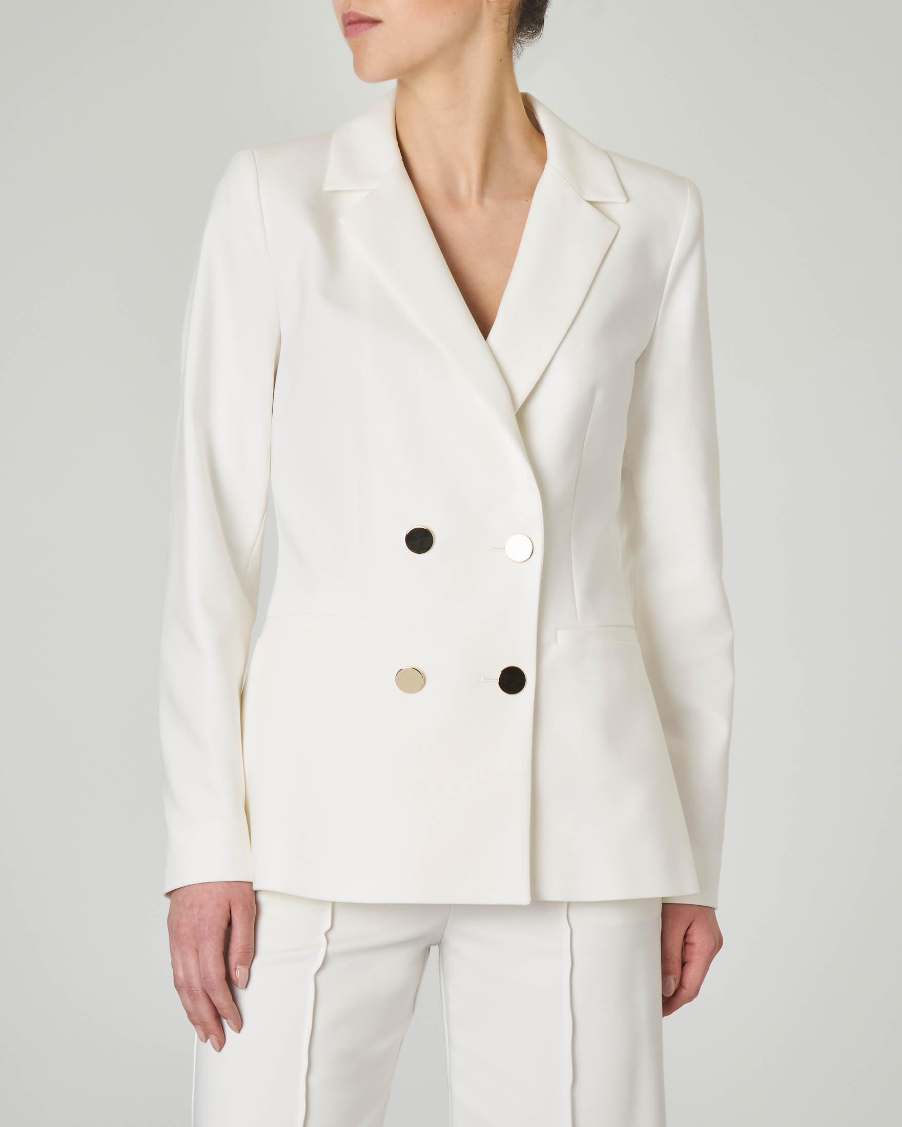 Giacca bianca doppio petto in misto cotone con bottoni dorati