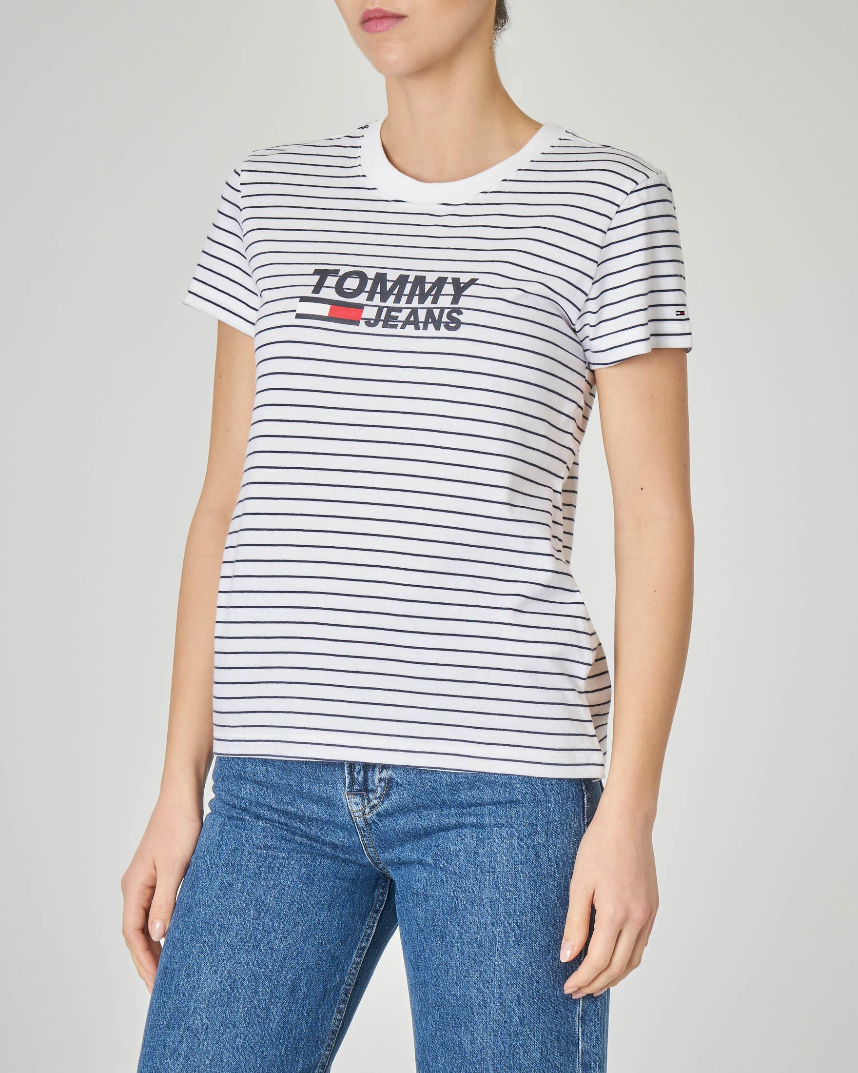 T-shirt a righe bianche e blu in cotone con logo