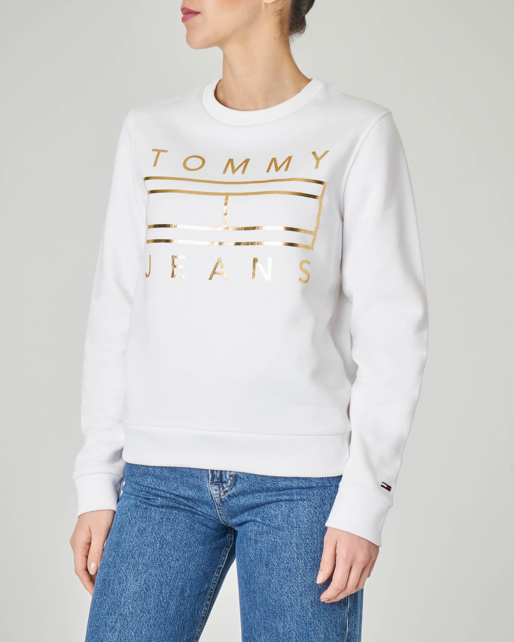 Felpa bianca girocollo in jersey di cotone con logo effetto laminato