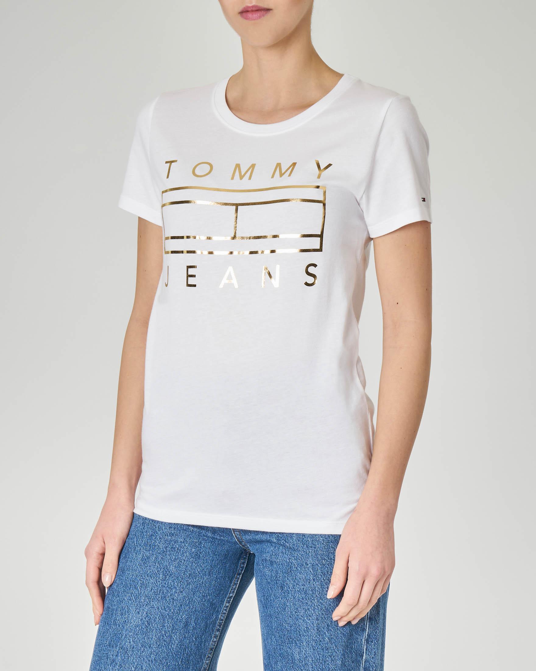 T-shirt bianca in cotone con logo effetto laminato stampato sul davanti