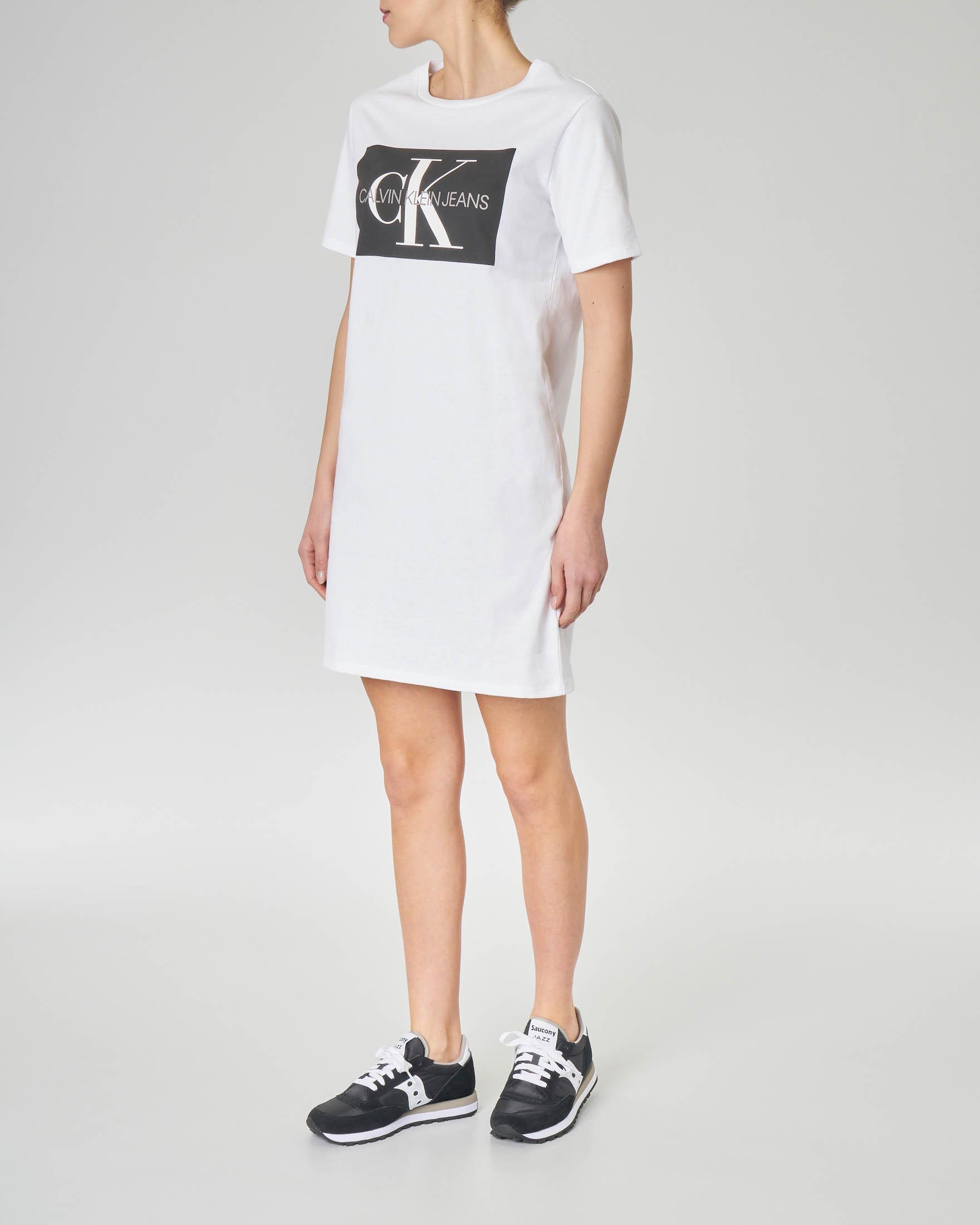 Abito corto bianco in jersey di cotone con maxi logo stampato