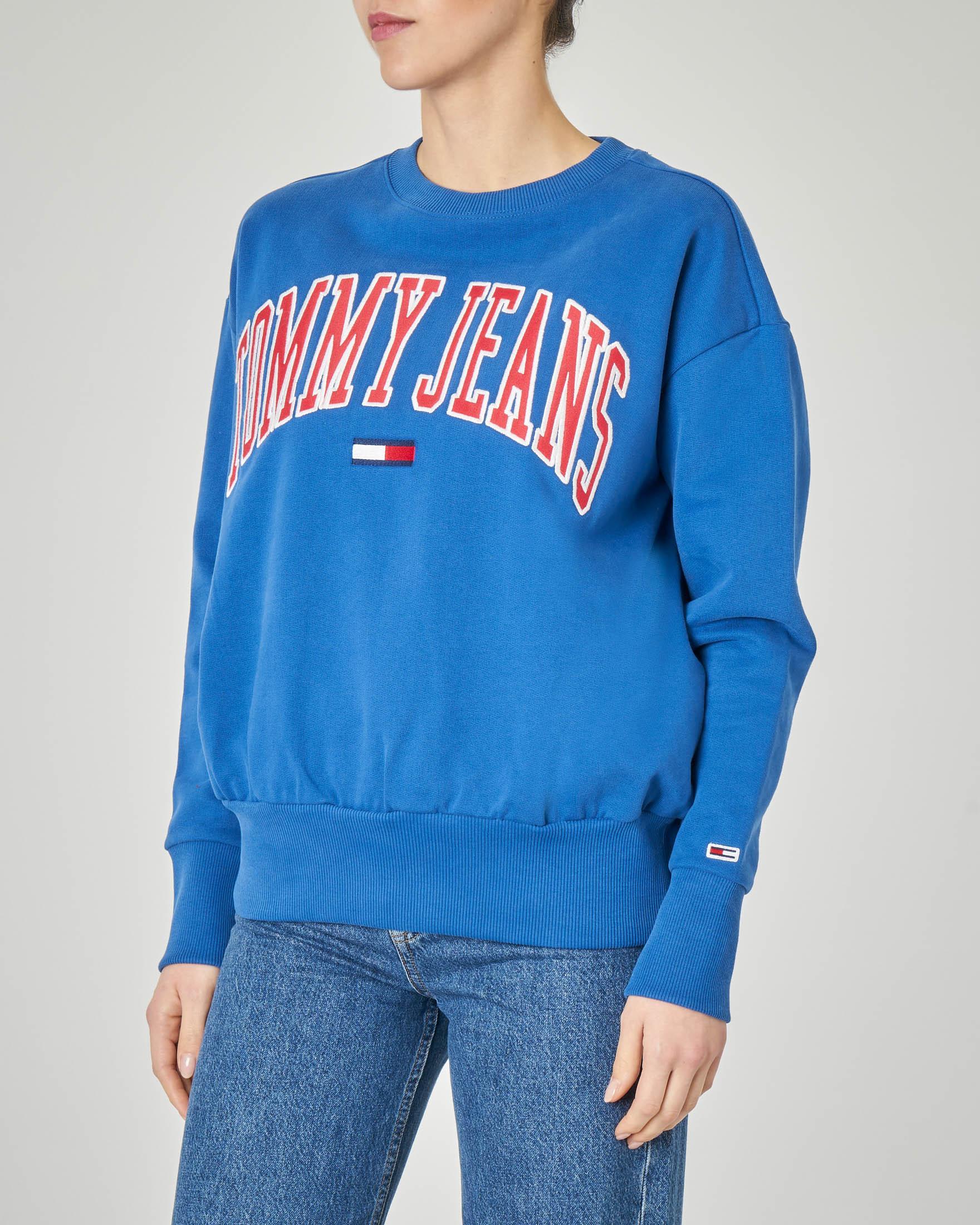 Felpa blu china in jersey di cotone con logo applicato a contrasto