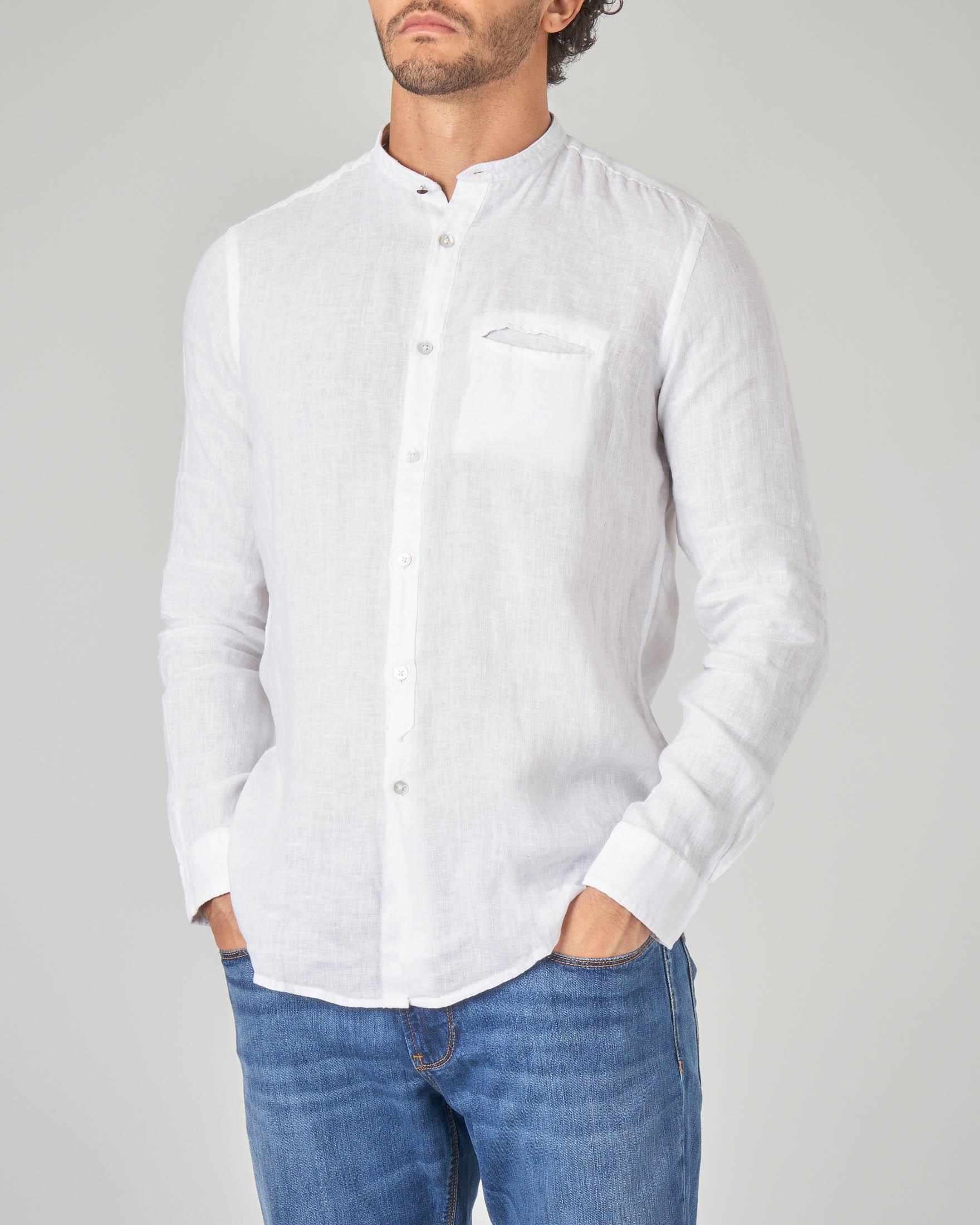 Camicia bianca in lino a coreana con taschino