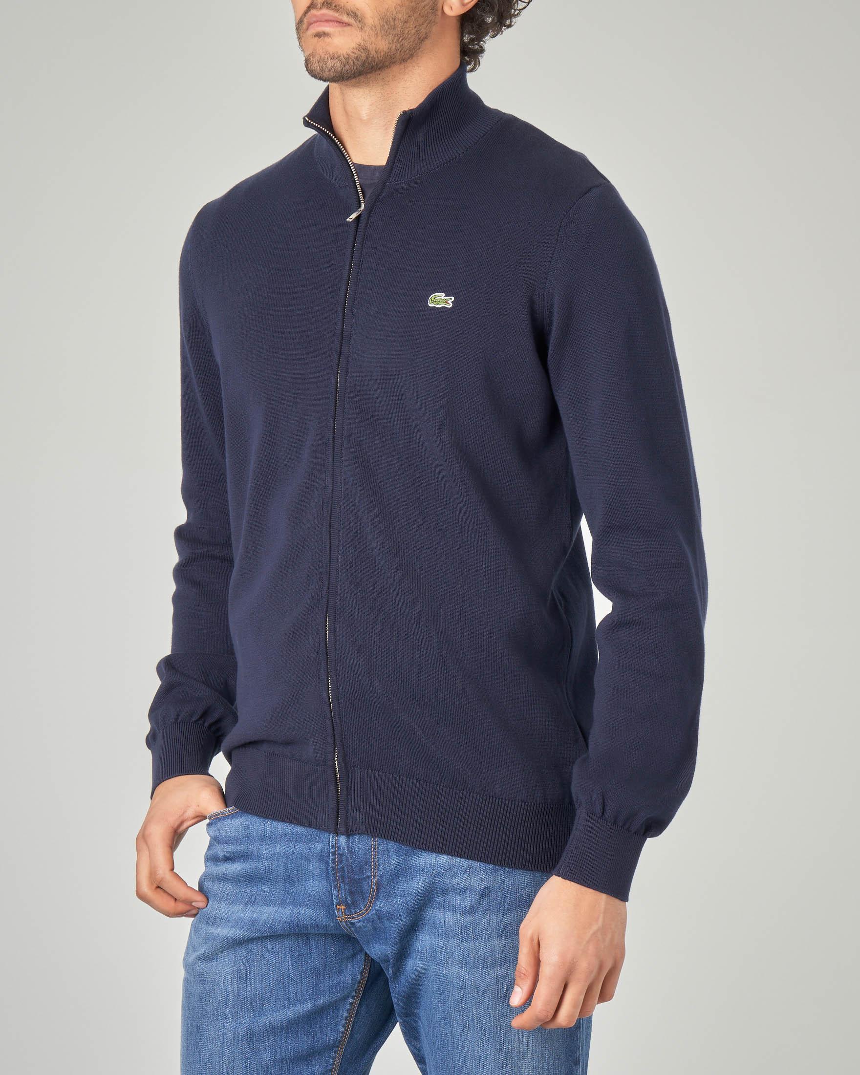Maglia blu in cotone con zip
