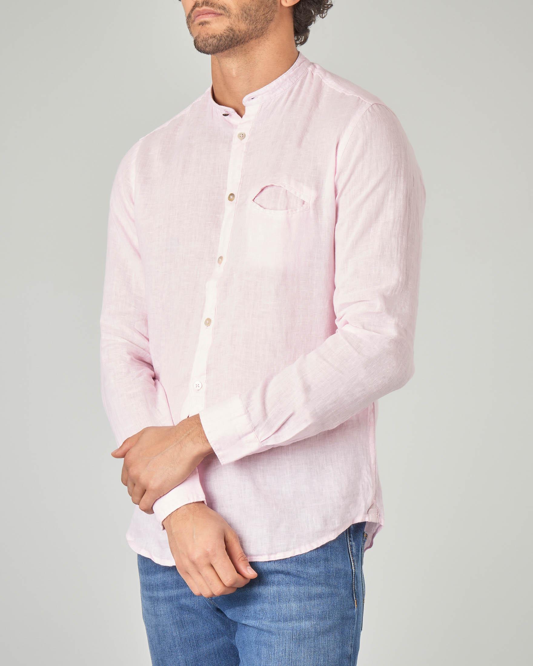 Camicia rosa in lino a coreana con taschino