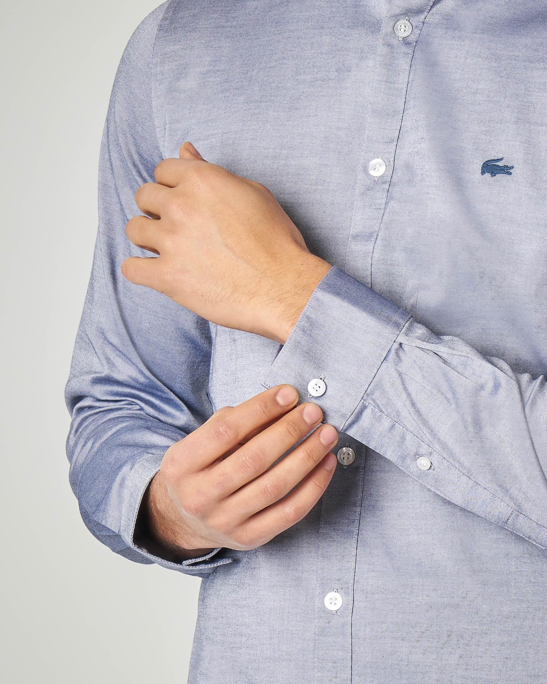 Camicia blu button down in cotone pinpoint stretch