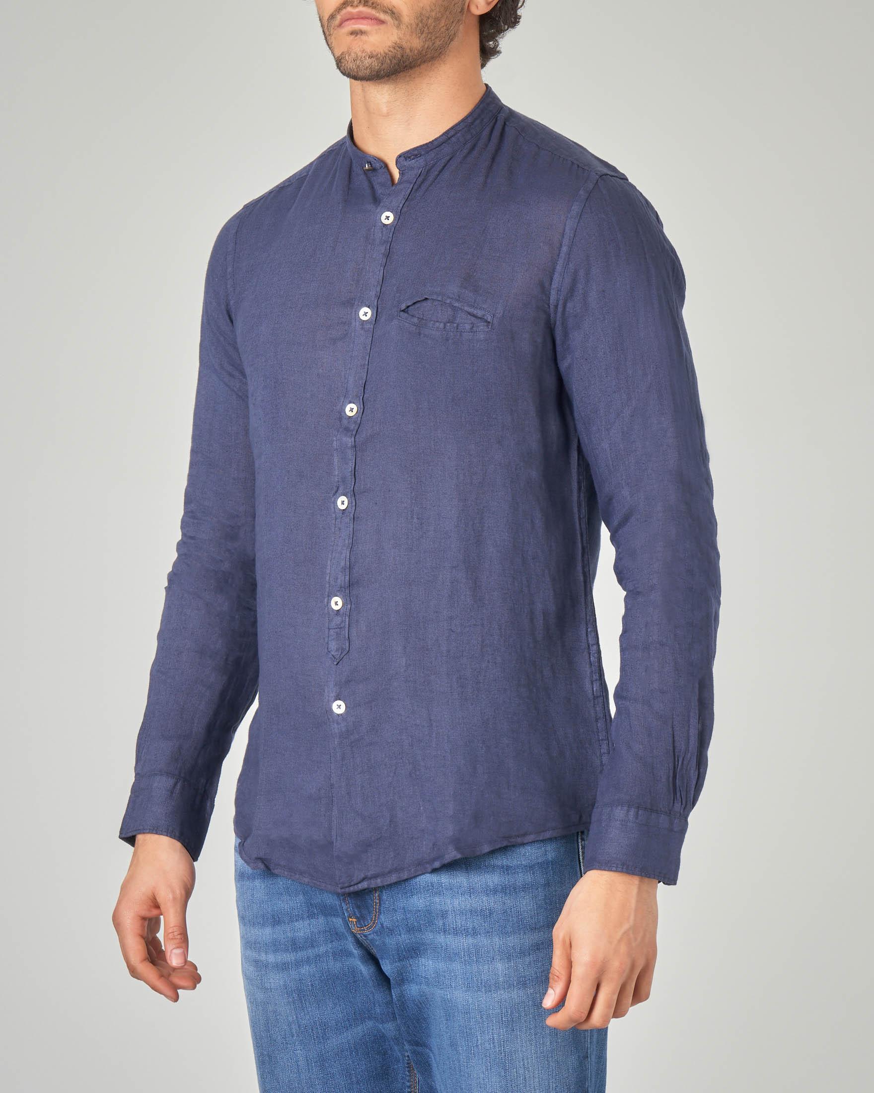 Camicia blu in lino a coreana con taschino