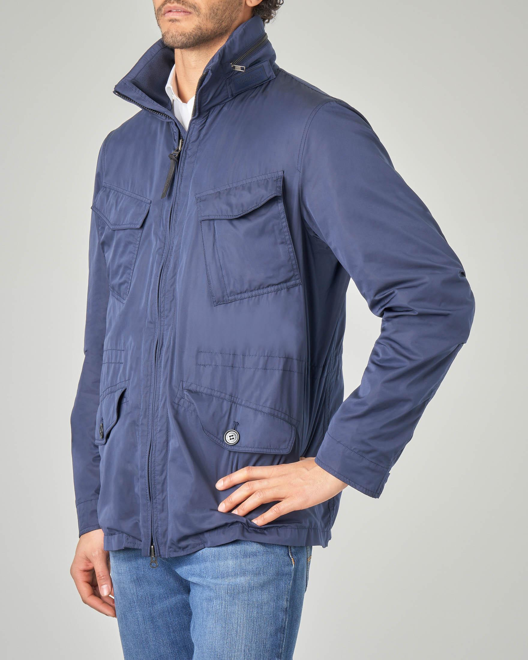 Field jacket blu in nylon