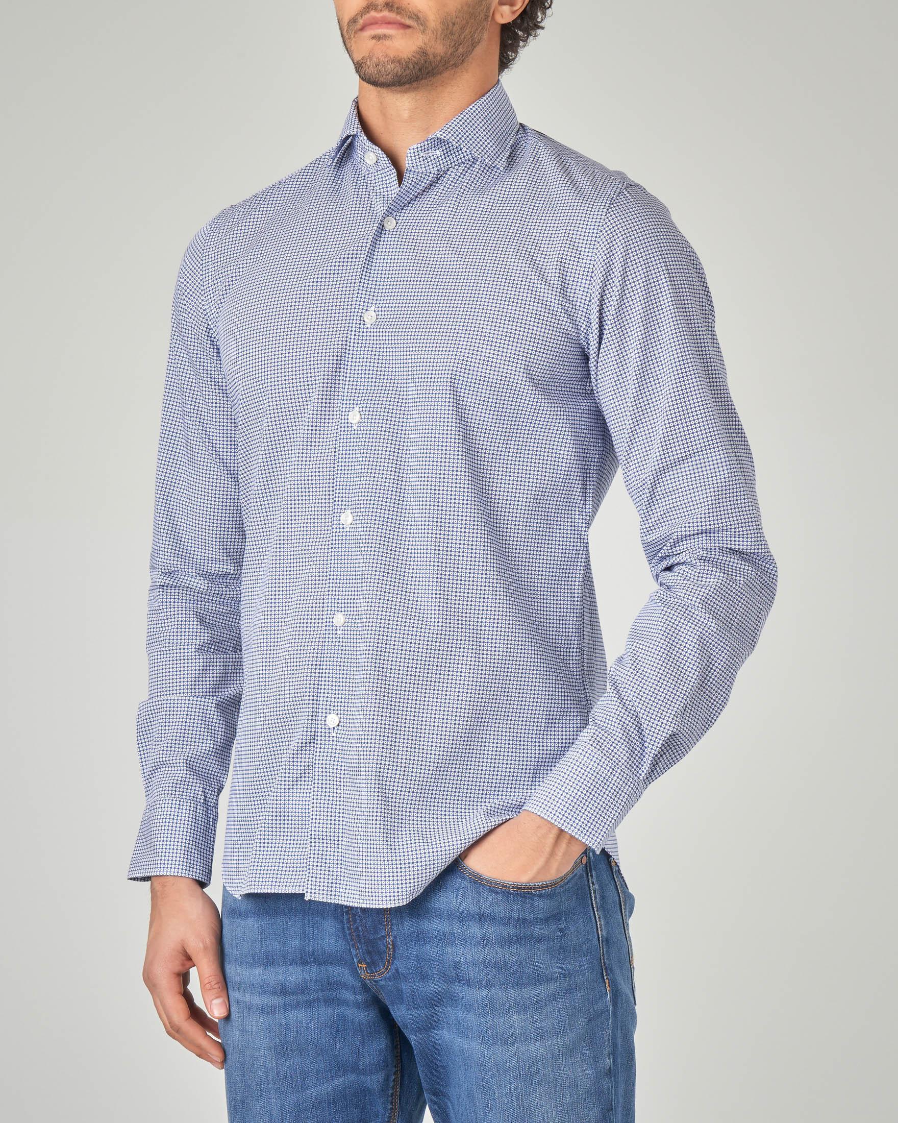 Camicia blu in micro-fantasia