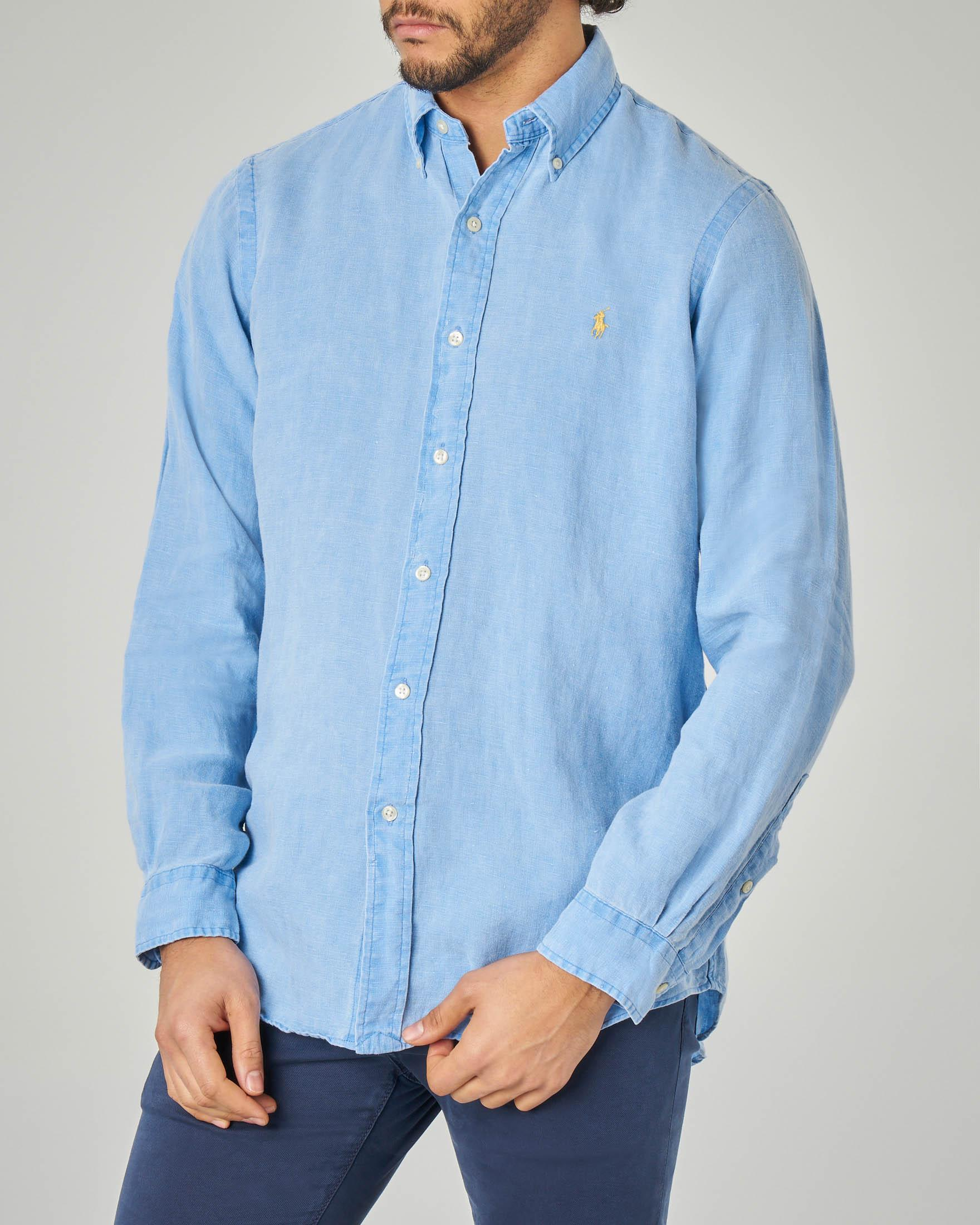 Camicia azzurra button down in lino