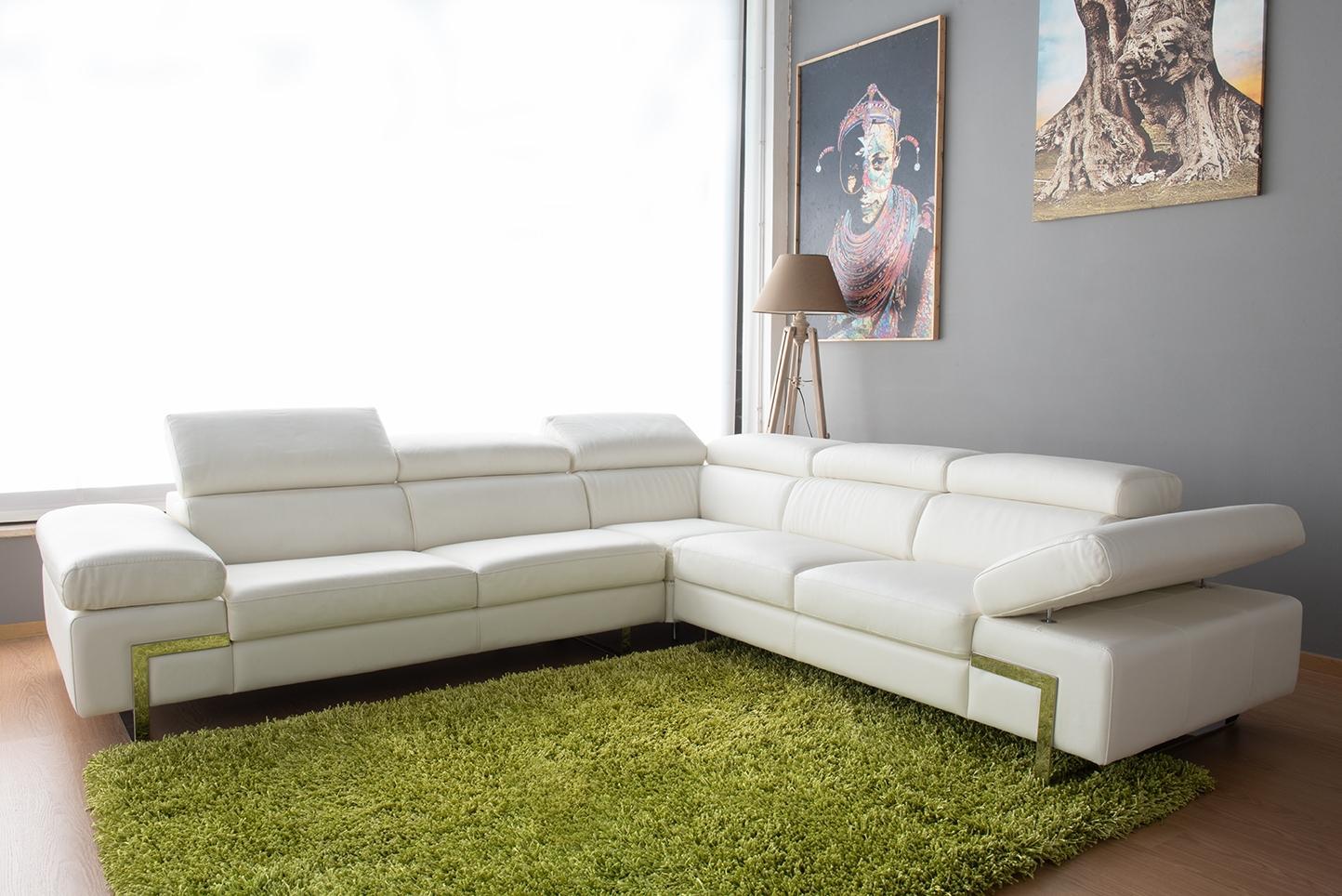 offerta divano angolare bianco 6 posti con poggiatesta