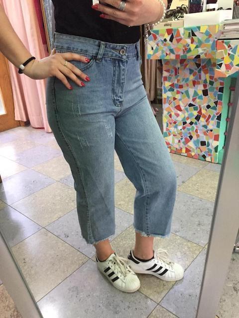 Jeans Vita alta gamba larga Taglia M