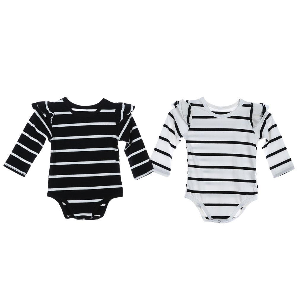3d3469915ecb5 Newborn Boy Girl Long Sleeve Black White Stripe Rompers Soft Cotton Spring  Summer Baby Infant Outfit Romper Clothing