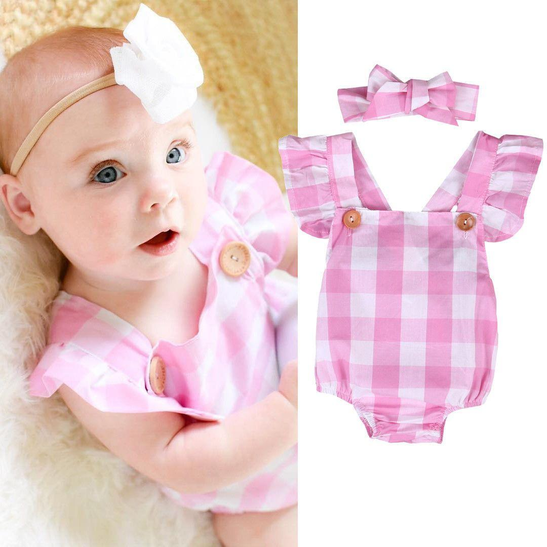 7165153a81599 Newborn Infant Baby Girls Rompers Lace Floral Romper Jumpsuit Rompers  Headband Outfits Set Baby girl clothing